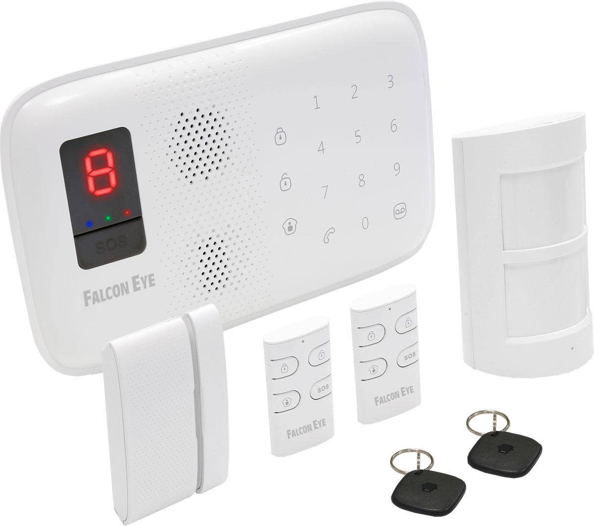 Falcon Eye FE MagicTouch комплект беспроводной GSM-сигнализацииFE MagicTouch КомплектКомплект беспроводной GSM сигнализации Falcon Eye Magic Touch отлично подойдет для квартиры, офиса и дачи. В стартовый комплект входит: контрольная панель со встроенной сиреной, считывателем RFID меток, ИК датчик движения, дверной магнитоконтакт, два брелока для дистанционного управления системой, две RFID метки. Все устройства уже запрограммированы в контрольной панели. Комплект можно расширить, приобретя дополнительно ИК датчики, магнитоконтакты, брелоки, и дополнительную сирену.До 50 беспроводных датчиковДо 10 пультов дистанционного управленияДо 50 RFID карт пользователейGSM коммуникатор нового поколения с повышенным классом передачи данныхПостановка или снятие системы с охраны путем отправки SMS, телефонным звонком или с помощью брелокаПередача тревожных сообщений на 5 телефонных номеров1 номер быстрого набораSMS предупреждение о потере питания, восстановления питания и низком заряде батареиФункция управления дверным замкомДистанционный аудиоконтроль системы через телефонВстроенная сиренаВремя автономной работы: до 8 часов