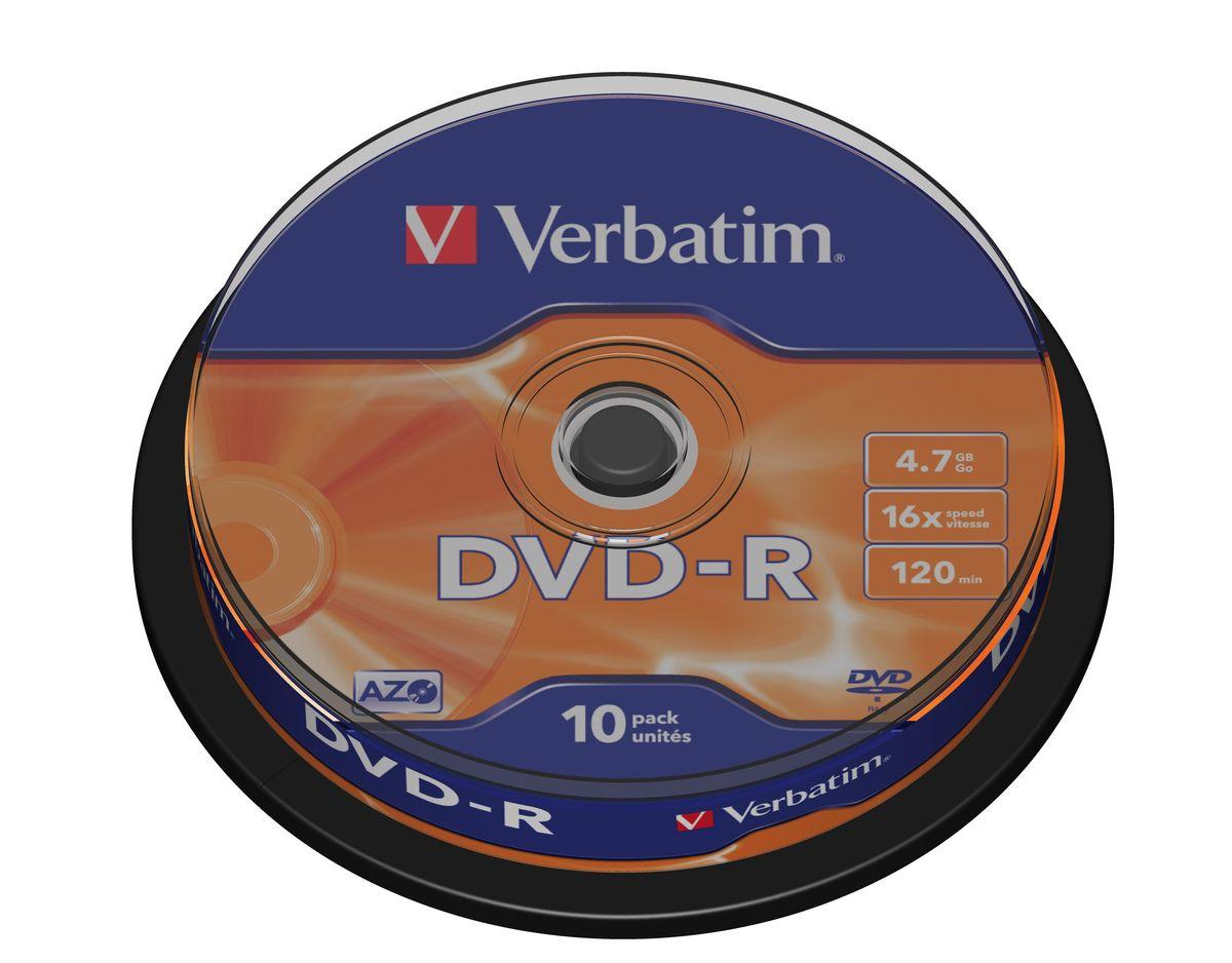 Verbatim DVD-R 4.7GB 16x лазерный диск, 10 шт (Cake)