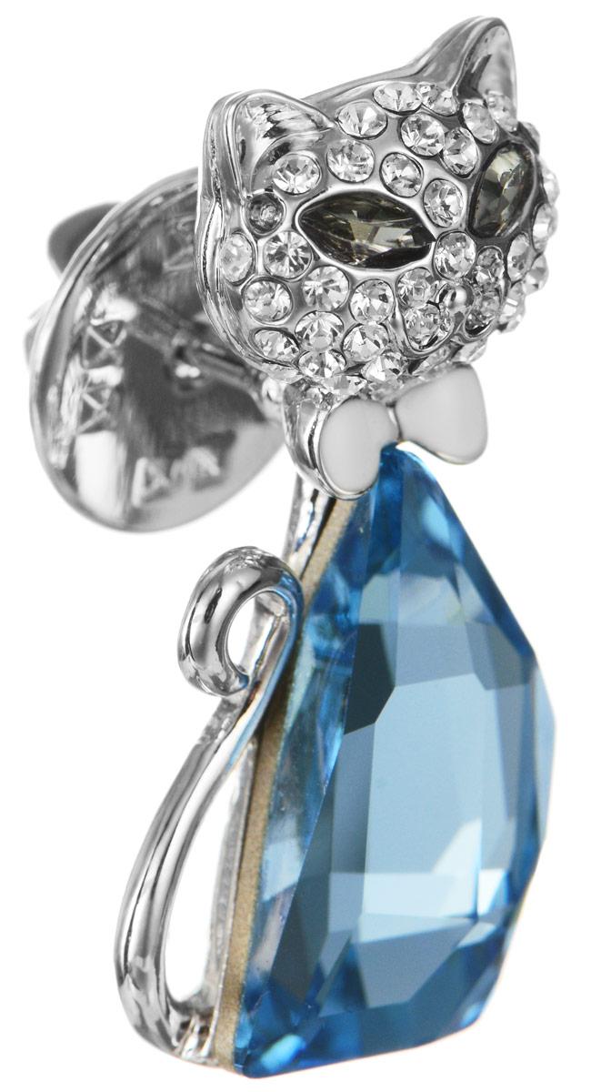 Брошь Art-Silver, цвет: серебристый, голубой. 059487-1583059487-1583Эффектная брошь Art-Silver, выполнена в виде кошки из бижутерного сплава и оформлена камнями и стразами. Брошь крепится с помощью иголки с замочком. Такая брошь позволит вам с легкостью воплотить самую смелую фантазию и создать собственный, неповторимый образ.