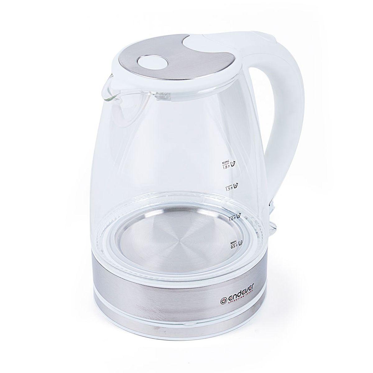 Endever KR-319G Skyline электрический чайникKR-319GКорпус чайника Endever KR-319G Skyline выполнен из высококачественного термостойкого стекла, сохраняющего природные свойства воды. Благодаря максимальной мощности 2400 Вт, данная модель за считанные минуты вскипятит 1,8 литра воды. Прозрачный корпус со шкалой контроля уровня и внутренней подсветкой позволяет следить за тем, как нагревается вода. Чайник соединён с базой центральным контактом и легко вращается на 360°. Крышка чайника открывается легким нажатием. Фильтр легко снимается, его можно мыть вручную или в посудомоечной машине. Нагревательный элемент встроен в дно и надежно защищен, что делает его чистку максимально удобной. Среди характеристик безопасности использования чайника стоит отметить автоматический и ручной выключатели, а также защиту от перегрева.