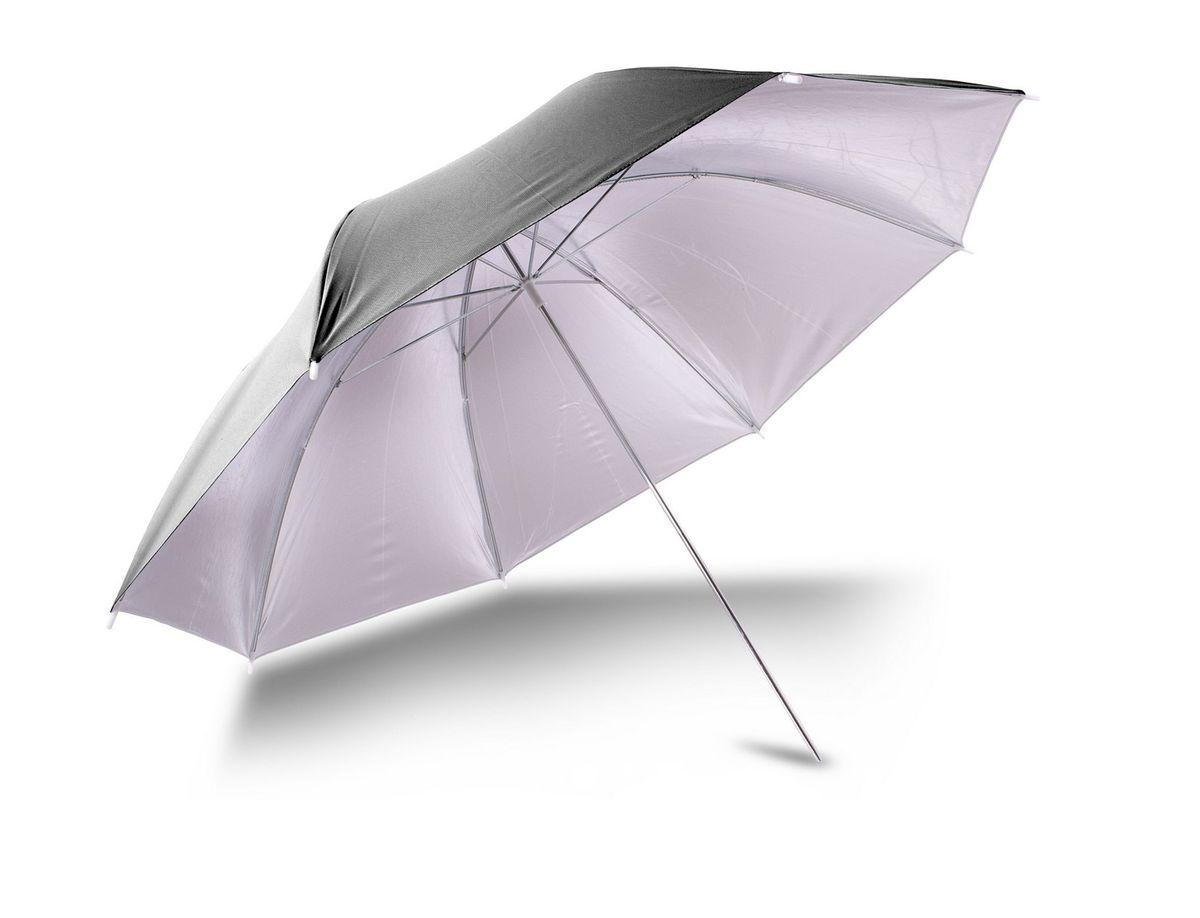 Ditech UB40BS, Black Silver зонт для фотосъемкиUB40BSЗонт Ditech UB40BS имеет диаметр 101 см, и две глянцевые отражающие поверхности: белую и серебристую, которые, в зависимости от поставленных задач можно заменить в течение нескольких минут.