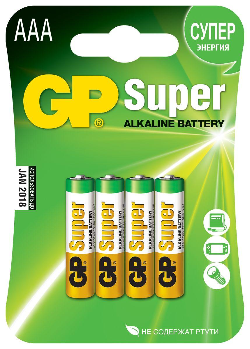Батарейка алкалиновая GP Batteries Super Alkaline, тип АAА, 4 шт10632Комплект GP Batteries Super Alkaline, состоящий из четырехалкалиновых батареек типа АAА, имеет широкий спектр применения. Батарейки прекрасно подходят для устройств повседневного использования. Комплект: 4 шт.