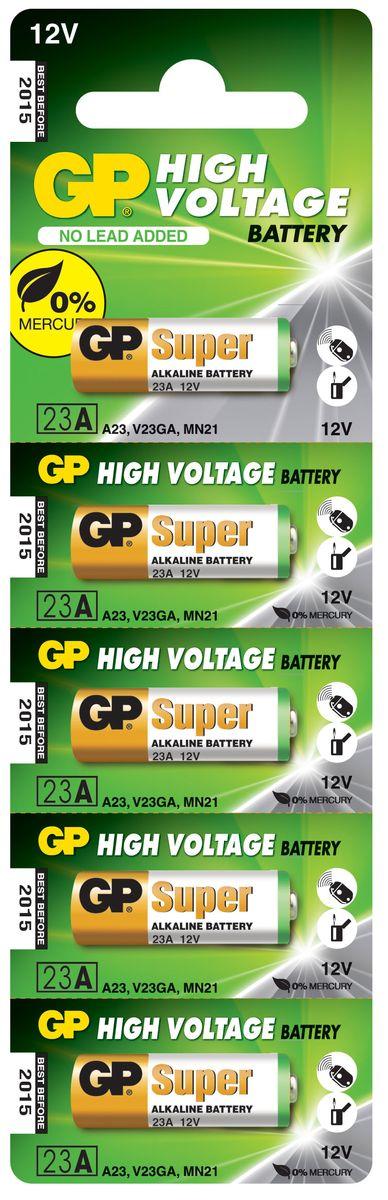 Набор высоковольтных батареек GP Batteries, тип 23А, 5шт2889Высоковольтные батареи включают в себя целый ряд элементов питания марганцево-цинковой системы с щелочным электролитом. Все батареи этой системы представляют собой набор элементов дисковой конструктции, собранных в единый металлический корпус. Такие батареи отличаются высоким разрядным напряжением от 6 до 15 В. Улучшенные характеристики батарей позволяют эффективно использовать их в современных цифровых охранных комплексах.