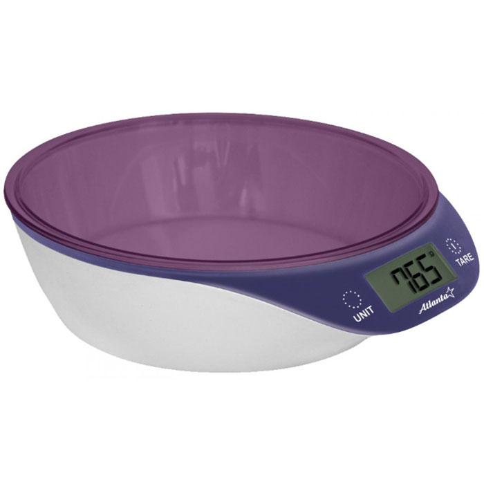 Atlanta ATH-6200, Purple весы кухонныеATH-6200Кухонные электронные весы Atlanta ATH-6200 - незаменимые помощники современной хозяйки. Они помогут точно взвесить любые продукты и ингредиенты. Кроме того, позволят людям, соблюдающим диету, контролировать количество съедаемой пищи и размеры порций. Предназначены для взвешивания продуктов с точностью измерения 1 грамм.Яркий дизайнСенсорные кнопкиФункция обнуления веса