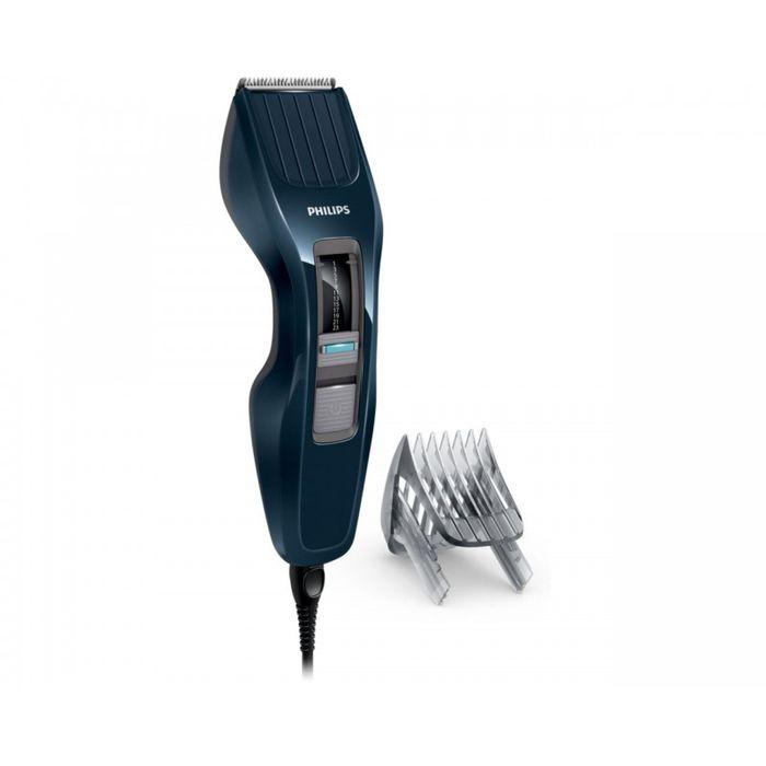 Philips HC3400/15, Dark Blue машинка для стрижкиHC3400/15Машинка для стрижки волос Philips HC3400/15. Двойной режущий блок с двойной заточкой и уменьшенным трением: Простое решение для стрижки волос любого типа: усовершенствованная технология DualCut - это режущий блок с двойной заточкой и низким коэффициентом трения. Инновационный режущий блок обеспечивает в два раза более быструю стрижку по сравнению с обычными машинками для стрижки Philips, что гарантирует превосходный результат снова и снова. Самозатачивающиеся лезвия из нержавеющей стали долго остаются острыми. 13 установок длины от 0,5 до 23 мм, которые легко выбрать и зафиксировать: Выберите и зафиксируйте одну из 12 фиксируемых установок длины регулируемого гребня: от 1 мм до 23 мм с шагом 2 мм. Либо используйте прибор без гребня для минимальной длины 0,5 мм.