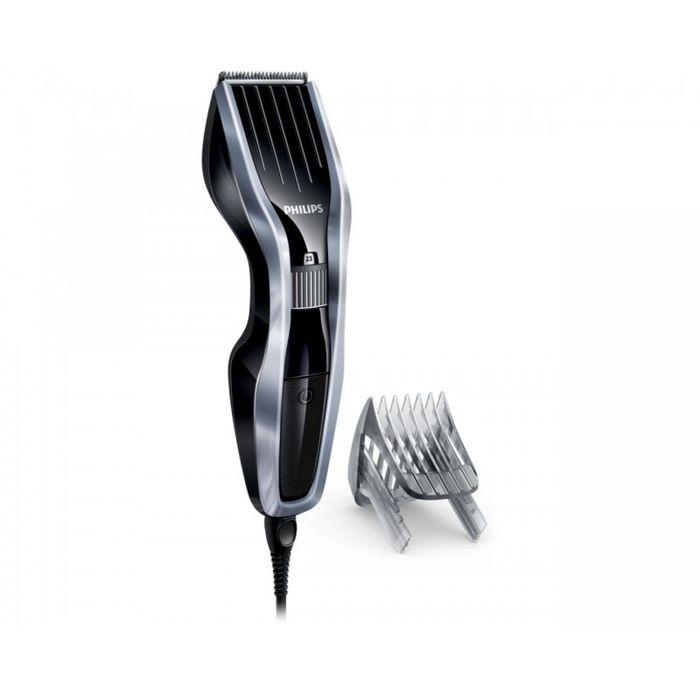 Philips HC5410/15, Silver Black машинка для стрижкиHC5410/15Машинка для стрижки волос Philips HC5410/15. Двойной режущий блок с двойной заточкой и уменьшенным трением: Усовершенствованная технология DualCut - это режущий блок с двойной заточкой и низким коэффициентом трения. Корпус из стали обеспечивает дополнительную надежность, а инновационный режущий блок гарантирует в два раза более быструю стрижку по сравнению с обычными машинками Philips. Самозатачивающиеся лезвия из стали долго остаются острыми: Самозатачивающиеся лезвия из нержавеющей стали долго остаются острыми. 24 установки длины от 0,5 до 23 мм, которые легко выбрать и зафиксировать: Поверните колесико для выбора и фиксации нужной установки длины. Прибор оснащен 23 установками длины: от 1 до 23 мм с шагом 1 мм. Прибор также можно использовать без гребня для подравнивания на минимальной длине 0,5 мм.