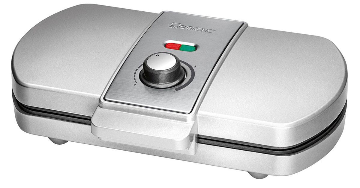 Clatronic WA 3607, Silver вафельницаWA 3607 silberВафельница Clatronic WA 3607 позволит приготовить за одну закладку 2 вафли. Прибор имеет мощность 1200 Вт, антипригарное покрытие, а также удобный регулируемый термостат. Полную информативность о состоянии вафельницы обеспечат индикатор питания и готовности к работе.