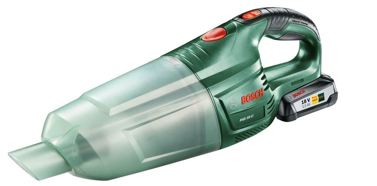 Аккумуляторный пылесос Bosch PAS 18 LI Set. 06033B9002VT-1810(B)Bosch PAS 18 Li - универсальный аккумуляторный ручной пылесос с высокой мощностью всасывания. Мобильность, легкость и эффективность — это все доступно с мощным аккумулятором 18 В и высокой производительностью всасывания. Постоянная готовность к работе обеспечивается благодаря литий-ионной технологии оригинальных аккумуляторов. Для данного прибора имеется широкий набор принадлежностей (насадки, трубки) для различного применения. С их помощью вы можете комфортно осуществлять очистку полов, мягкой мебели и удаление пыли в труднодоступных местах. Bosch PAS 18 Li оснащен легко очищаемым пылесборником и высокоэффективным фильтром. Удобство использования также обеспечивается благодаря компактному исполнению и рукоятке с мягкой накладкой. Комплектация: 1 Аккумуляторный блок (2.5 А*ч) Насадка для пола Щеточная насадка Блок фильтра Щелевая насадка Удлинительная трубка 1-часовое зарядное устройство.