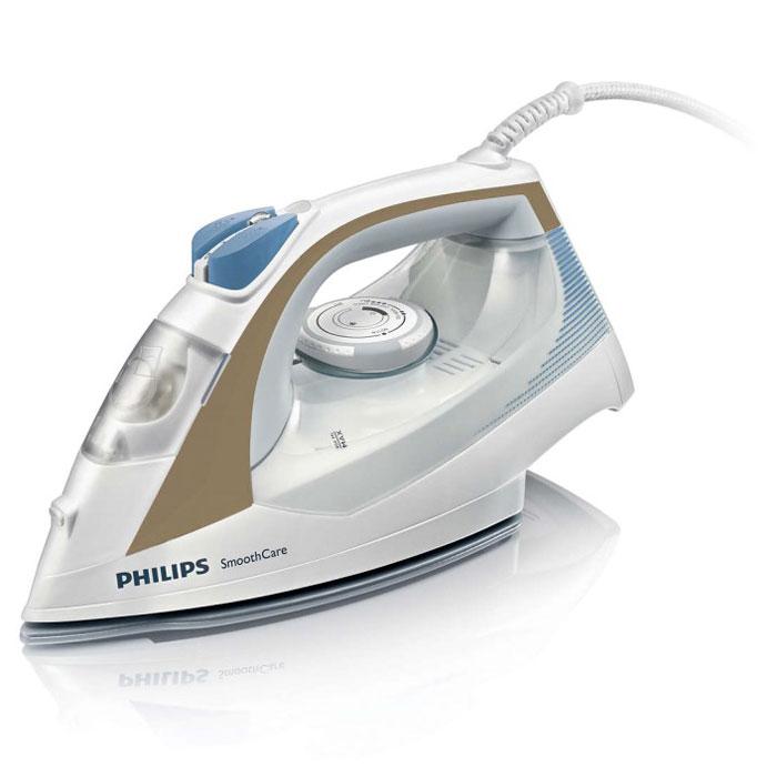 Philips GC3569/20, White Bronze утюгGC3569/20Этот паровой утюг Philips оснащен системой капля-стоп, поэтому вы сможете гладить даже деликатные ткани при низкой температуре, не беспокоясь о появлении пятен воды на одежды. Возможность гладить дольше без частого долива воды благодаря большому резервуару емкостью 400 мл. Двойная система очистки от накипи Double Active Calc в паровом утюге Philips предотвращает образование накипи с помощью противоизвестковых капсул и удобной в использовании функции очистки от накипи Calc Clean. Функцию парового удара можно использовать для вертикального отпаривания и устранения жестких складок. Керамическая подошва EasyFlow устойчива к царапинам, хорошо скользит и удобна в очистке.