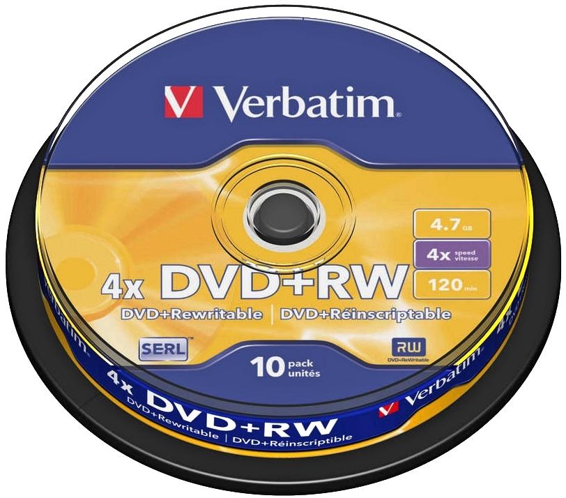 Диск DVD+RW Verbatim 4.7Gb 4x Cake Box (10 шт)43488Универсальные оптические компакт-диски DVD-RW Verbatim 4.7Gb 4x предназначены для записи аудио и видео данных различных форматов. Информацию можно перезаписывать, используя скорость записи до 4х.