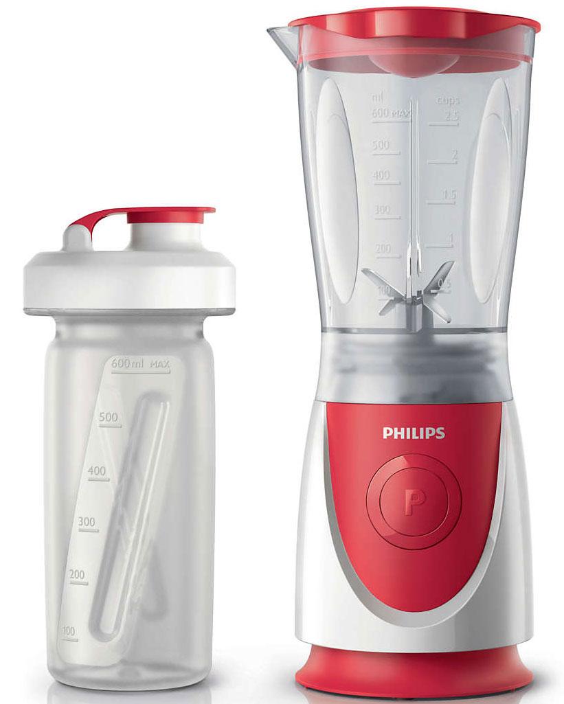 Philips HR2872/00 Daily Collection блендерHR2872/00Новый мини-блендер Philips поможет приготовить фруктовые напитки, супы, соусы и коктейли, а благодаря удобной бутылочке On The Go вы сможете насладиться любимыми напитками где угодно!Все съемные детали можно мыть в посудомоечной машине.Мощность 350 Вт для смешивания и измельчения без усилий.Благодаря удобной бутылочке On The Go вы сможете насладиться любимыми напитками где угодно!Кувшин блендера из усиленного пластика защищен от повреждений.Благодаря удобной системе хранения шнур блендера можно убрать, что поможет поддержать порядок на кухне.