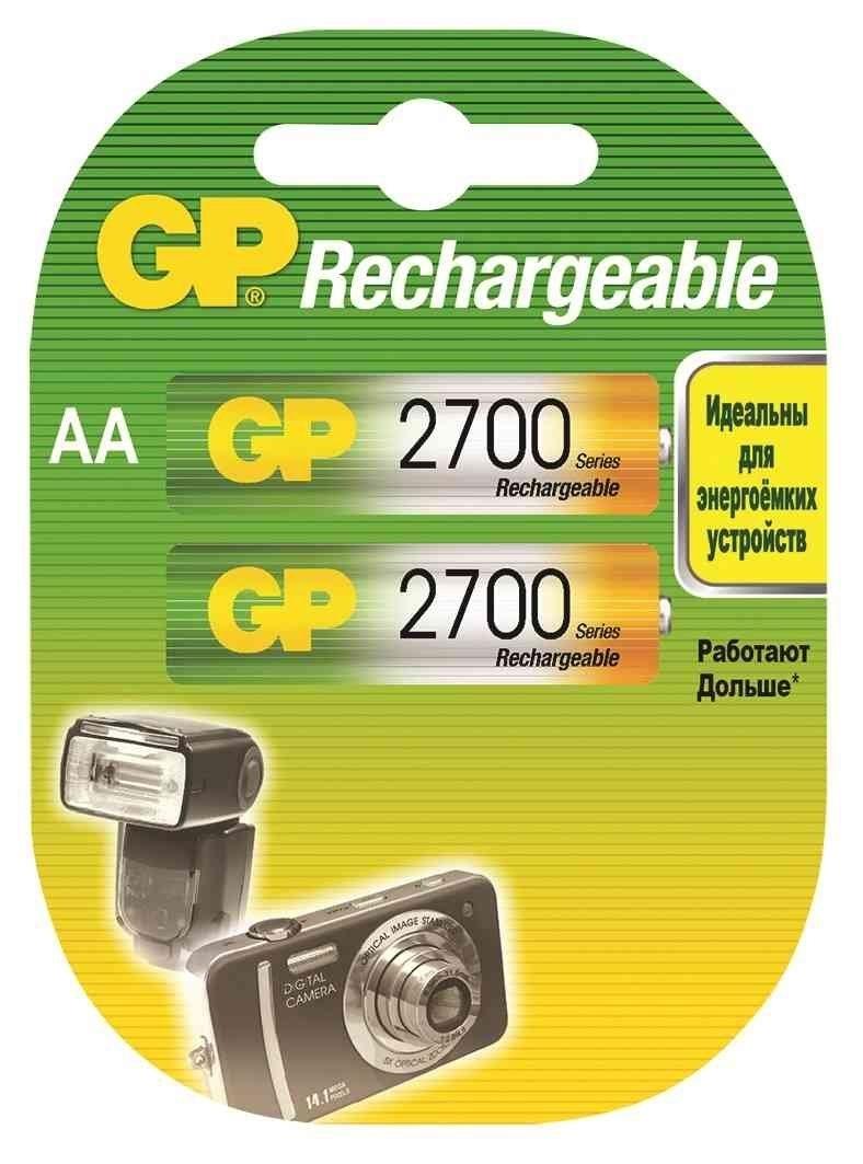 Аккумулятор GP 270AAHC AA NiMH 2700 мАч, 2 штGP 270AAHC-2DECRC2Аккумуляторные батареи типа AA широко применяемые во множестве устройств, от пультов ДУ и фонарей, до игрушек и фотоаппаратуры, имеют большую емкость.