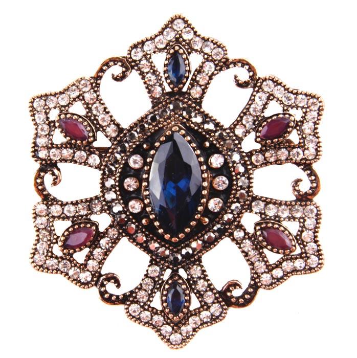 """Брошь """"Фамагуста"""" в византийском стиле. Бижутерный сплав, австрийские кристаллы, искусственные камни. Конец XX века"""