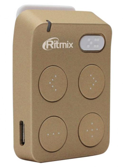 Ritmix RF-2500 4GB, Gold MP3-плеер15118176Ritmix RF-2500 - компактный и удобный mp3-плеер с надёжным креплением в форме клипсы. Ваш верный спутник во время занятий спорта или активного отдыха. Плеер выполнен из приятного на ощупь материала Soft Touch. Управлять плеером невероятно удобно: кнопки переключения треков, а также изменения громкости расположены логично и понятно. Пальцы моментально запоминают расположение кнопок, что позволяет управлять гаджетом вслепую, лёгким движением одной руки. Ritmix RF-2500 оснащен разъёмом для карты microSD ёмкостью до 16 ГБ, а также встроенным аккумулятором, который обеспечивает до шести часов непрерывной музыки. Сотни ваших любимых композиций в режиме нон-стоп!