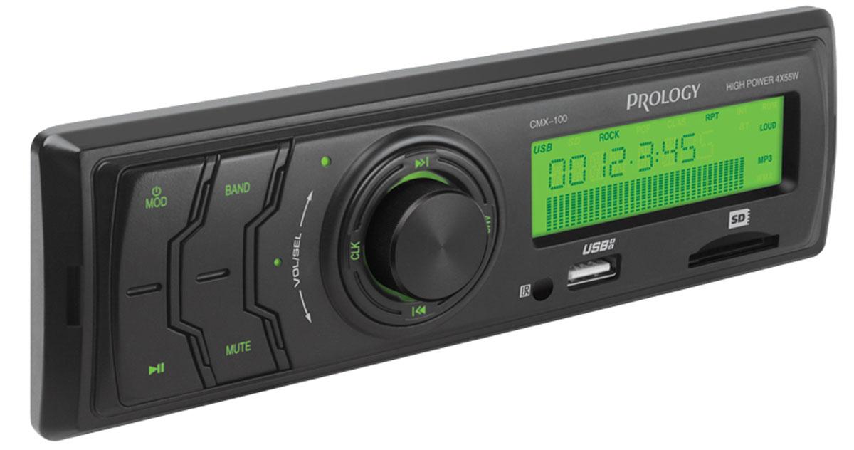Prology CMX-100, Black автомагнитолаPROLOGY CMX-100Доступный по цене автомобильный ресивер Prology CMX-100 с высокой выходной мощностью 4 x 55 Вт. Простое и надежное головное устройство формата 1DIN без дискового привода, предназначенное для воспроизведения музыки популярных форматов MP3 и WMA с USB-флэшек и SD-карт. Высокоскоростной цифровой PLL тюнер с FM диапазоном и памятью на 12 станций. Линейный аудиовыход позволяет построить в автомобиле систему с внешними усилителями.