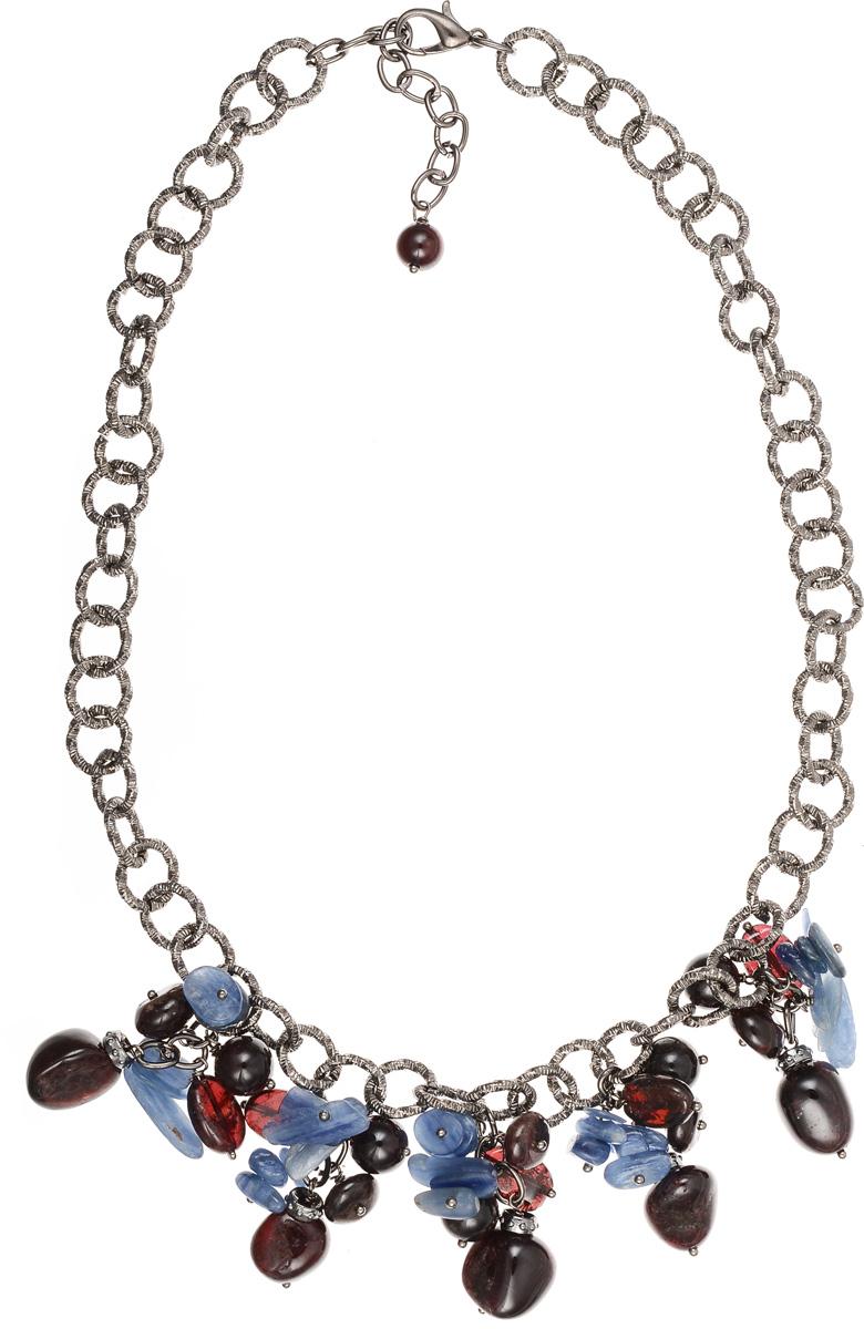 Колье Polina Selezneva, цвет: бордовый, синий, черный. 001-1545Ожерелье (короткие многоярусные бусы)Элегантное колье Polina Selezneva изготовлено из ювелирного сплава и натурального камня. Оригинальные узоры кианита прекрасно подчеркивают уникальность минерала и идеально сочетаются с перламутровыми переливами граната.Изделие застегивается на замок-карабин, длина регулируется.Стильное колье Polina Selezneva поможет дополнить любой образ и привнести в него завершающий яркий штрих.