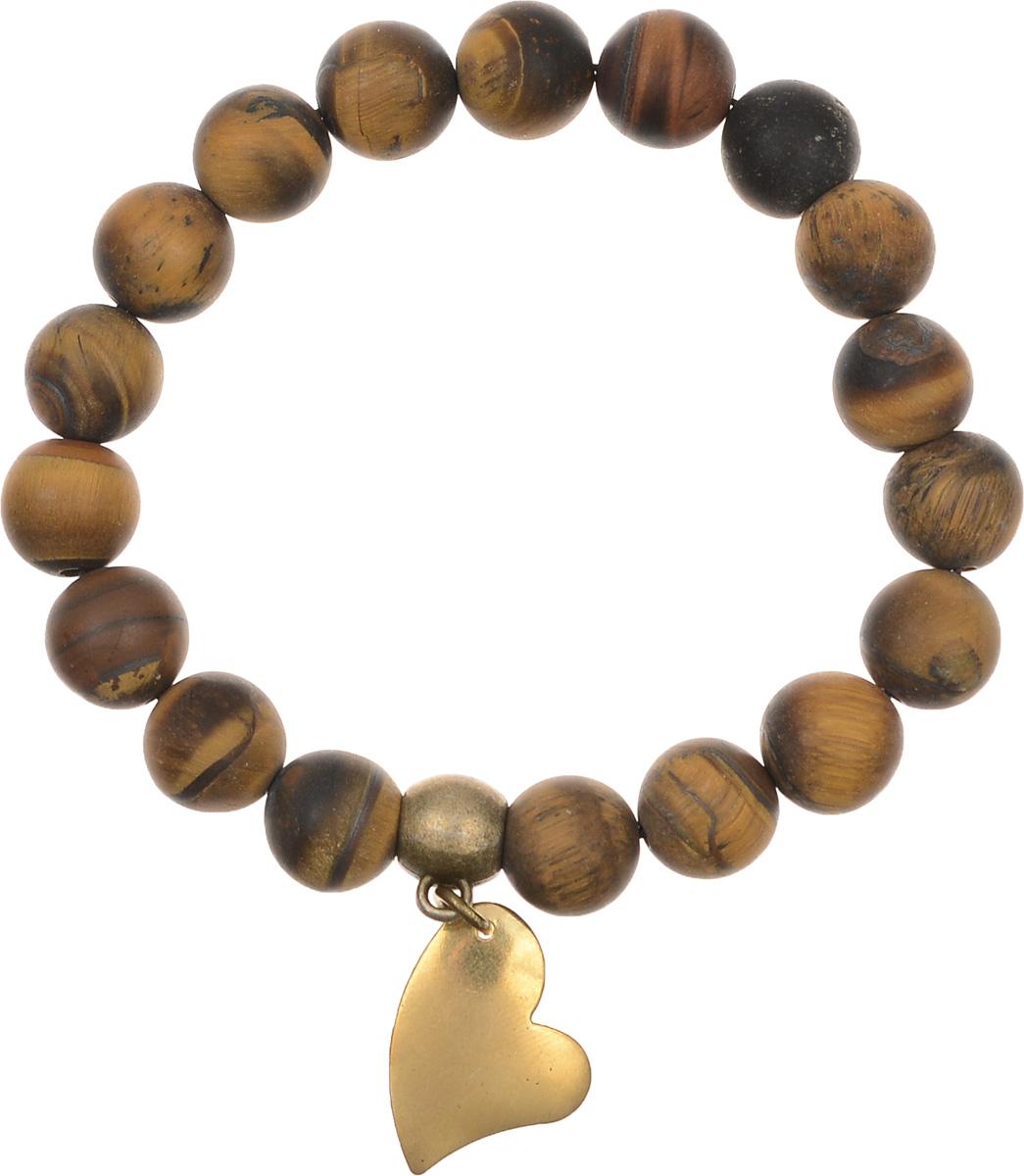 Браслет Polina Selezneva, цвет: коричневый, золотой. 002-2828Браслет с подвескамиЭлегантный браслет Polina Selezneva изготовлен из натурального камня. Оригинальные узоры тигрового глаза прекрасно подчеркивают уникальность минерала, а подвеска в форме сердца выгодно дополняет браслет.Благодаря эластичной основе браслет идеально разместится на запястье.Стильный браслет Polina Selezneva поможет дополнить любой образ и привнести в него завершающий яркий штрих.
