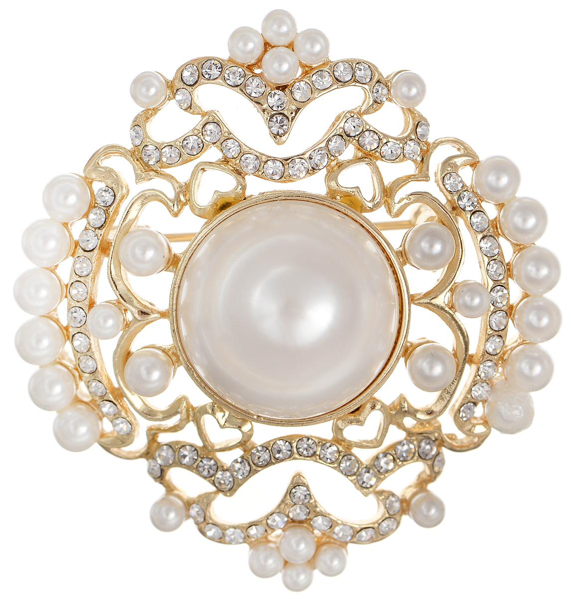 Брошь Selena Street Fashion, цвет: золотистый, белый. 3002697030026970Роскошная брошь Selena Street Fashion изготовлена из латуни с золотистым покрытием. Брошь оформлена кристаллами Preciosa и вставками из искусственного жемчуга. Изделие крепится с помощью замка-булавки. Такая брошь позволит вам с легкостью воплотить самую смелую фантазию и создать собственный неповторимый образ.