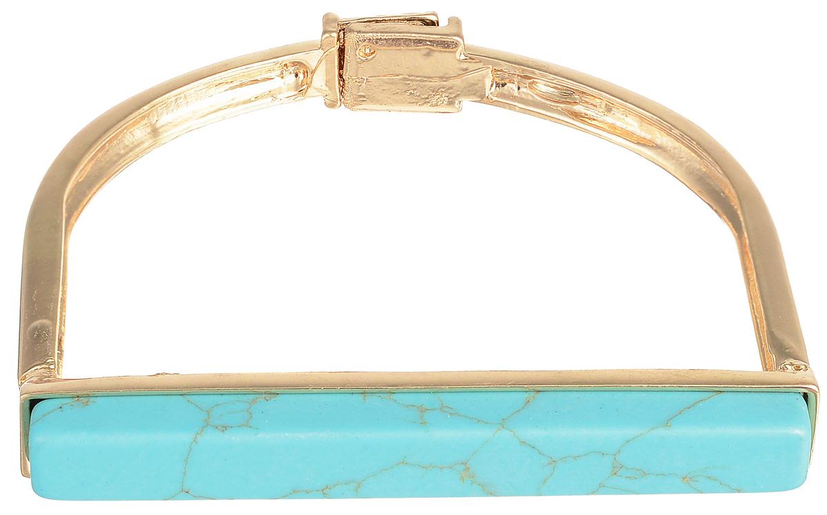 Браслет Selena Street Fashion, цвет: золотистый, бирюзовый. 40058320Глидерный браслетСтильный женский браслет Selena Street Fashion изготовлен из металла с золотистым покрытием. Изделие дополнено вставкой из бирюзы. Застегивается браслет на магнитный замок. Это стильное украшение станет прекрасным завершением вашего модного образа.