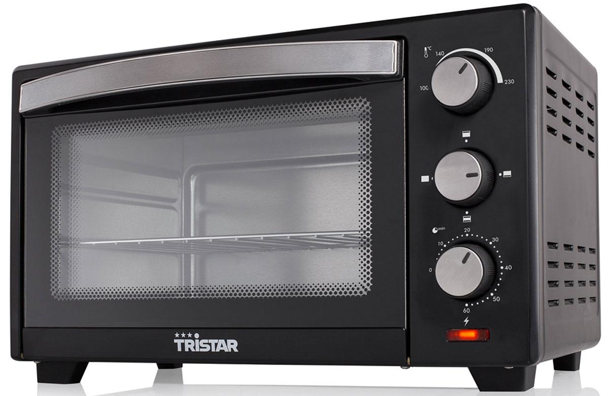 Tristar OV-1435, Black минипечьOV-1435Мини-печь Tristar OV-1435 обладает объемом 19,3 литров и мощностью 1380 Вт. Этот компактный прибор пригодится на любой кухне. Выпекайте любимые пироги и блюда с комфортом. Внутренняя поверхность имеет долговечное стойкое покрытие. Таймер с сигналом на 60 минут позволит рассчитать точное время приготовления блюд.Противень: 26 х 32,5 смРешеткаДержатель для противня и решеткиРегулируемая температура 100 - 230 °CИндикатор питанияНескользящие ножки
