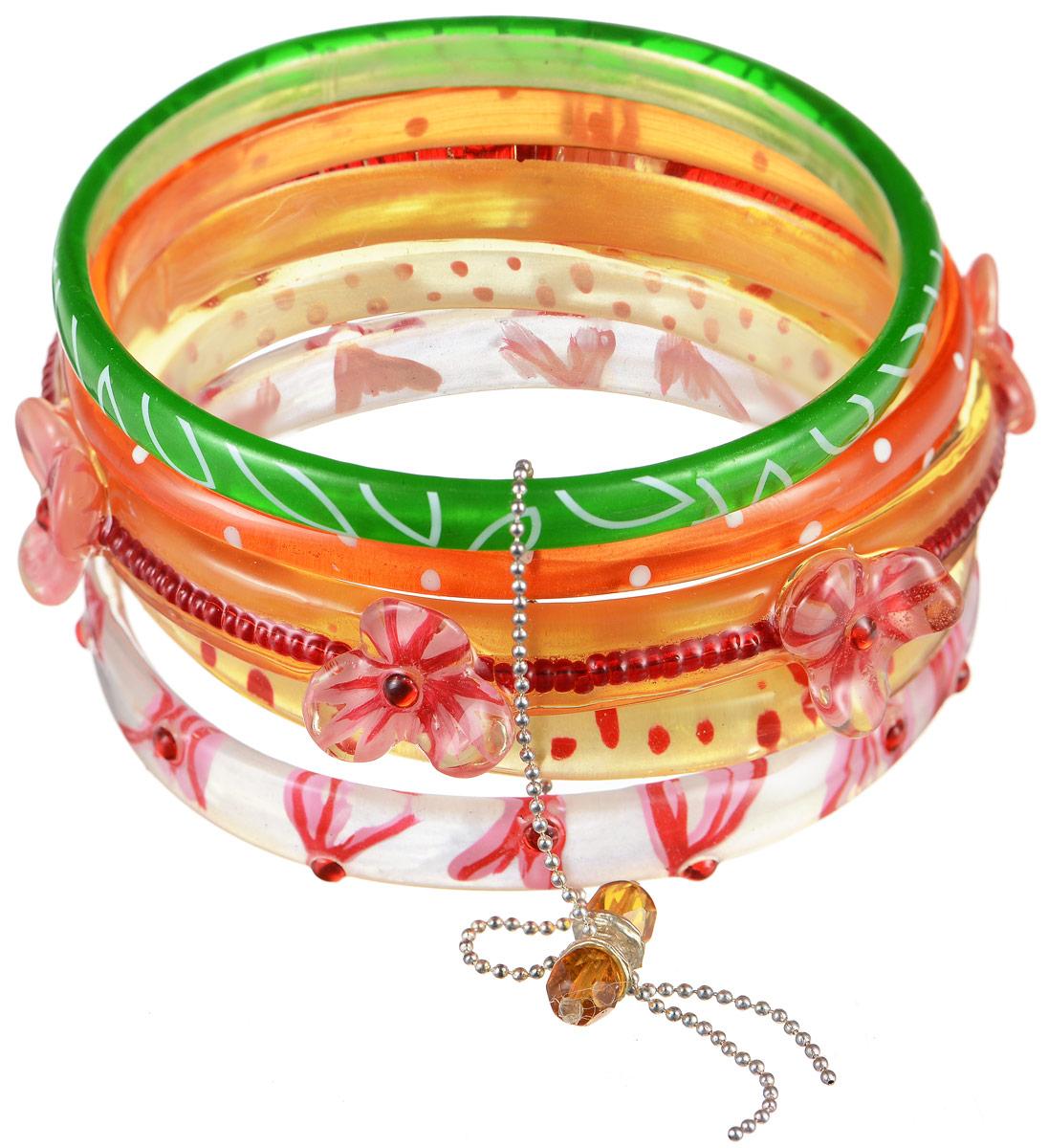 Браслет Lalo Treasures Row, цвет: розовый, оранжевый, зеленый. Bn2508Bn2508Яркое комбинированное украшение Lalo Treasures Row включает пять браслетов, выполненных из ювелирной смолы. Изделия оформлены оригинальными орнаментами и декоративными элементами в виде цветов. Стильное украшение поможет дополнить любой образ и привнести в него завершающий яркий штрих.