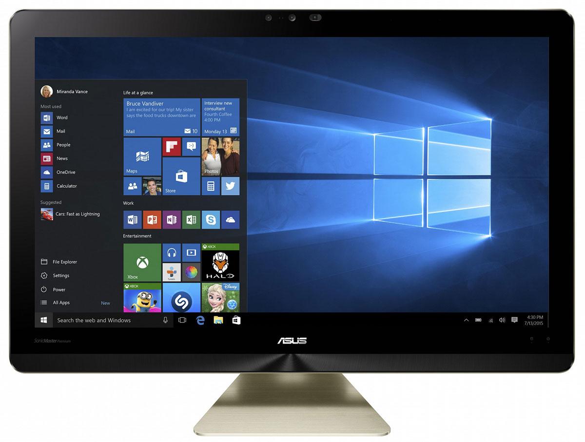 ASUS Zen AiO Pro Z240ICGK, Black Gold моноблок (Z240ICGK-GC081X)Z240ICGK-GC081XМоноблочный компьютер Zen AiO Pro - еще одно доказательство того, что современные технологии могут быть красивыми. Его алюминиевый корпус золотистого цвета с оригинальной текстурой поверхности идеально впишется в любой домашний интерьер.Zen AiO Pro не только великолепно выглядит, но и выдает великолепно выглядящее изображение, ведь его IPS-дисплей обладает разрешением 1920 x 1080, широкими углами обзора (178°) и точной цветопередачей. Компьютер обладает увеличенным цветовым охватом по сравнению с обычными мониторами и способен отображать 100% оттенков цветового пространства sRGB. Это означает более яркие, насыщенные цвета, равно как и более точное, реалистичное отображение каждого цветового оттенка.Это не только красивый, но и высокопроизводительный компьютер. В его изящном корпусе скрываются мощные компоненты, в том числе новейший процессор Intel Core i7, память современного типа DDR4, качественный жесткий диск и дискретная видеокарта геймерского класса GeForce GTX 960M. Все вместе они обеспечивают великолепную скорость работы любых приложений.Встроенная аудиосистема включает в себя 6 динамиков общей мощностью 16 ватт. Комплекс аппаратных и программных технологий под общим названием SonicMaster Premium наделяет этот моноблочный компьютер великолепным голосом при воспроизведении музыки, в играх и любых других мультимедийных приложениях.В данной модели установлена 3D-камера Intel RealSense, позволяющая управлять компьютером с помощью жестов. Она умеет распознавать лица и отслеживать движения пальцев, давая возможность работать в различных приложениях, не прикасаясь к мышке или клавиатуре.Каждый покупатель Zen AiO Pro получает бесплатный доступ к онлайн-хранилищу ASUS WebStorage объемом 100 ГБ сроком на 1 год. WebStorage - это современный облачный сервис для хранения файлов и доступа к ним с любого устройства, подключенного к интернету. Поддерживаются автоматическая синхронизация и различны