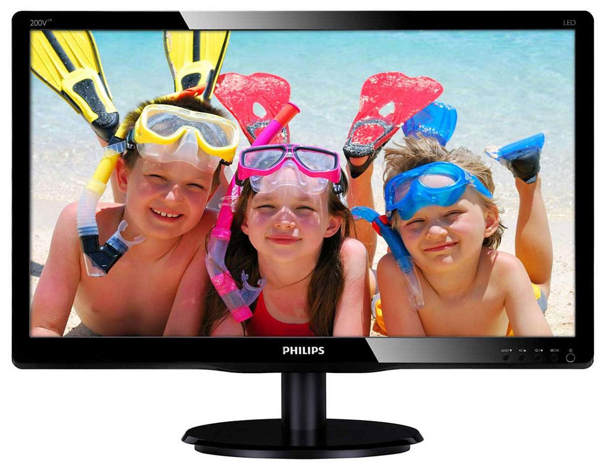 Philips 200V4LAB2 (00/01), Black монитор200V4LAB2 (00/01)Оцените яркое и реалистичное светодиодное LED-изображение со стильным монитором Philips 200V4LAB2.SmartContrast: для насыщенных оттенков черного:SmartContrast — технология Philips, которая анализирует отображаемый контент и автоматически настраивает цвета и интенсивность подсветки для динамичного улучшения контраста. Тем самым обеспечивается оптимальный уровень контрастности и наилучшее качество цифрового изображения, а также большая насыщенность темных оттенков, что особенно важно во время игр. При выборе экономичного режима уровень контрастности регулируется, а подсветка настраивается для оптимальной работы со стандартными офисными приложениями и экономии электроэнергии.Светодиодная LED-технология для ярких цветов:Белые светодиоды — это устройства, достигающие предельной яркости за меньшее время. Светодиоды не содержат ртути, что обеспечивает экологичный производственный процесс и утилизацию. Светодиоды позволяют лучше регулировать яркость подсветки ЖК-дисплея, обеспечивая превосходный коэффициент контрастности. Кроме того, их отличает великолепная цветопередача, благодаря одинаковой яркости по всему экрану.Экологически безопасный дисплей без содержания ртути:Мониторы Philips со светодиодной подсветкой не содержат ртути — одного из самых токсичных материалов, оказывающего негативное воздействие на людей и животных. Этот факт снижает негативное воздействие монитора на окружающую среду от момента его производства до утилизации.Мощный звук:Звук стереокачества для всех мультимедийных приложений и социальных сетей. Эти встроенные АС не только обеспечивают превосходный звук, но и помогают избавиться от спутанных кабелей и сэкономить место на рабочем столе.