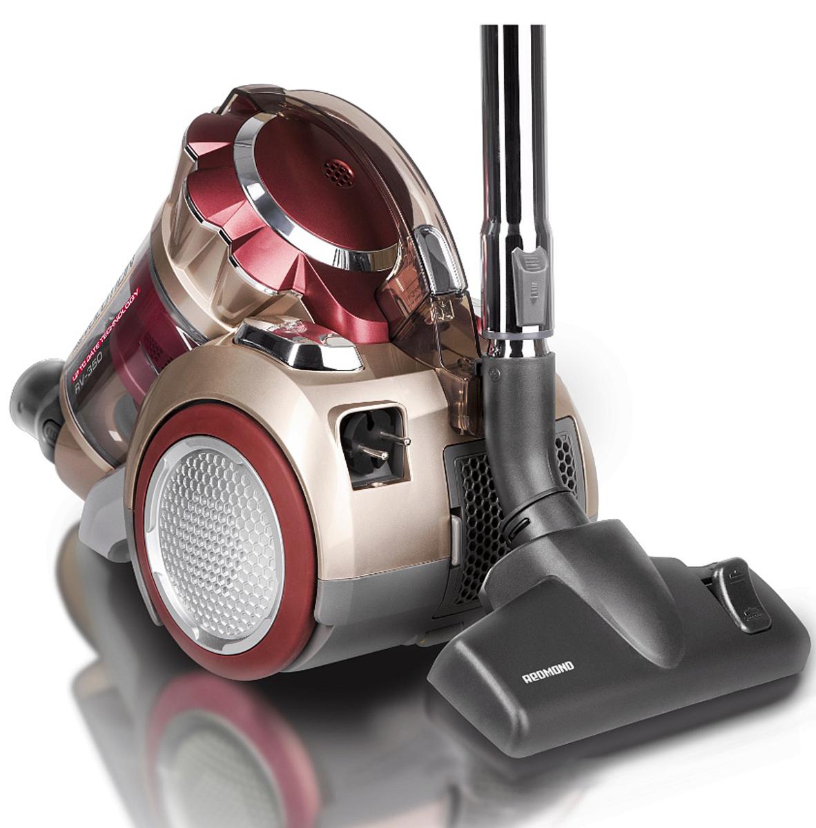 Redmond RV-350 пылесосRV-350Пылесос Redmond RV-350 — новая супермощная модель в невероятно привлекательном космическом дизайне с уникальной системой очистки Мультициклон 12+1 и современным воздушным НЕРА-фильтром. Делать свой дом чище и уютнее стало гораздо проще, быстрее и комфортнее. Пылесос имеет вместительный контейнер для сбора пыли объёмом 1,5 л, надёжный моторный микрофильтр и плавный пуск двигателя. Примечательно, что регулятор мощности располагается на ручке, что обеспечивает дополнительное удобство при использовании высококачественного прибора. Отдельно стоит заявить о комплекте насадок и щёток, который отличается разнообразием — эти аксессуары существенно увеличивают потенциал аппарата: насадка пол / ковёр, насадка для паркета / ламината, турбощётка, щелевая насадка и насадка для чистки мягкой мебели. С таким набором легко справиться почти с любым загрязнением. Redmond RV-350 будет непременно радовать и такими особенностями, как автоматическая смотка электрошнура,...