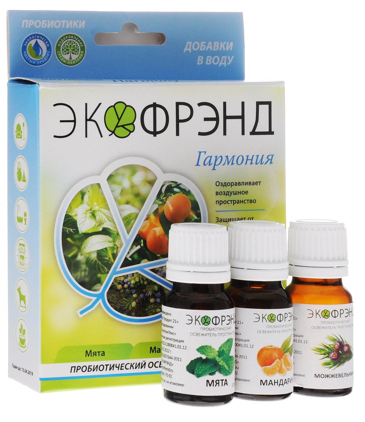 Экофрэнд Гармония пробиотический освежитель пространства мята мандарин можжевельникГАРМОНИЯЭкофренд Гармония - это экологичное пробиотическое средство - концентрат, на основе эфирного масла мяты. Средство устраняет пыль, гарь, смог, неприятные запахи, очищает воздух и создает защиту на микробиологическом уровне. Нейтрализует негативное воздействие окружающей среды и электромагнитное излучение, оздоравливает воздушное пространство. Освежитель не разрушает озоновый слой, не раздражает кожу и дыхательные пути. Эфирное масло мяты, входящее в состав, очень хорошо успокаивает и восстанавливает силы, устраняя нервное перевозбуждение и нервозность вследствие недосыпания. Устройства для применения: климатическая установка, моющий пылесос, парогенератор, распылитель, увлажнитель Области применения: баня, автомобиль, детская, животные, гостиная, кухня, прихожая, ванная, цветы