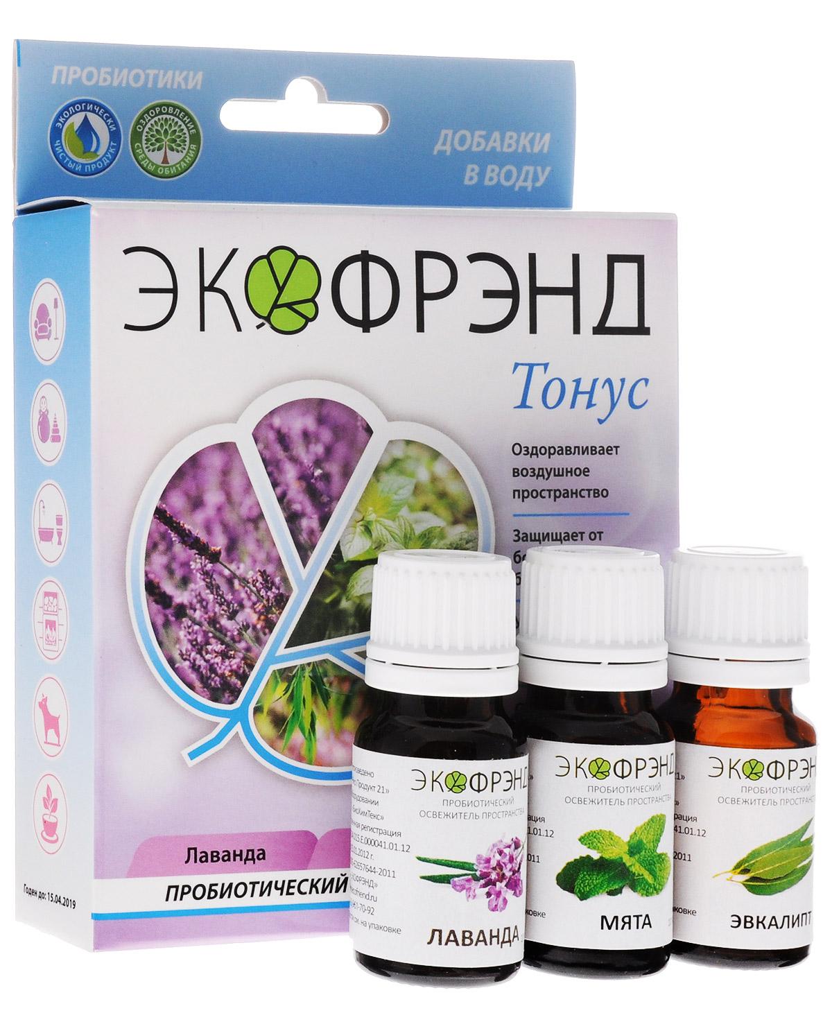 Экофрэнд Тонус пробиотический освежитель пространства Лаванда, Мята, ЭвкалиптТОНУСЭкологичное пробиотическое средство - концентрат, на основе эфирного масла лайма. Средство устраняет пыль, гарь, смог, неприятные запахи, очищает воздух и создает защиту на микробиологическом уровне. Нейтрализует негативное воздействие окружающей среды и электромагнитное излучение, оздоравливает воздушное пространство. Освежитель не разрушает озоновый слой, не раздражает кожу и дыхательные пути. «Тонус» (с эфирной компонентой масла лайма), как и другие цитрусовые, является прекрасным антисептиком. Освежающий запах оказывает стимулирующее и тонизирующее воздействие. Подарит чувство покоя, повысит настроение и придаст оптимизма. При распылении в пространстве помещения обладает антивирусным, антисептическим, бактерицидным и жаропонижающим воздействием на человека.