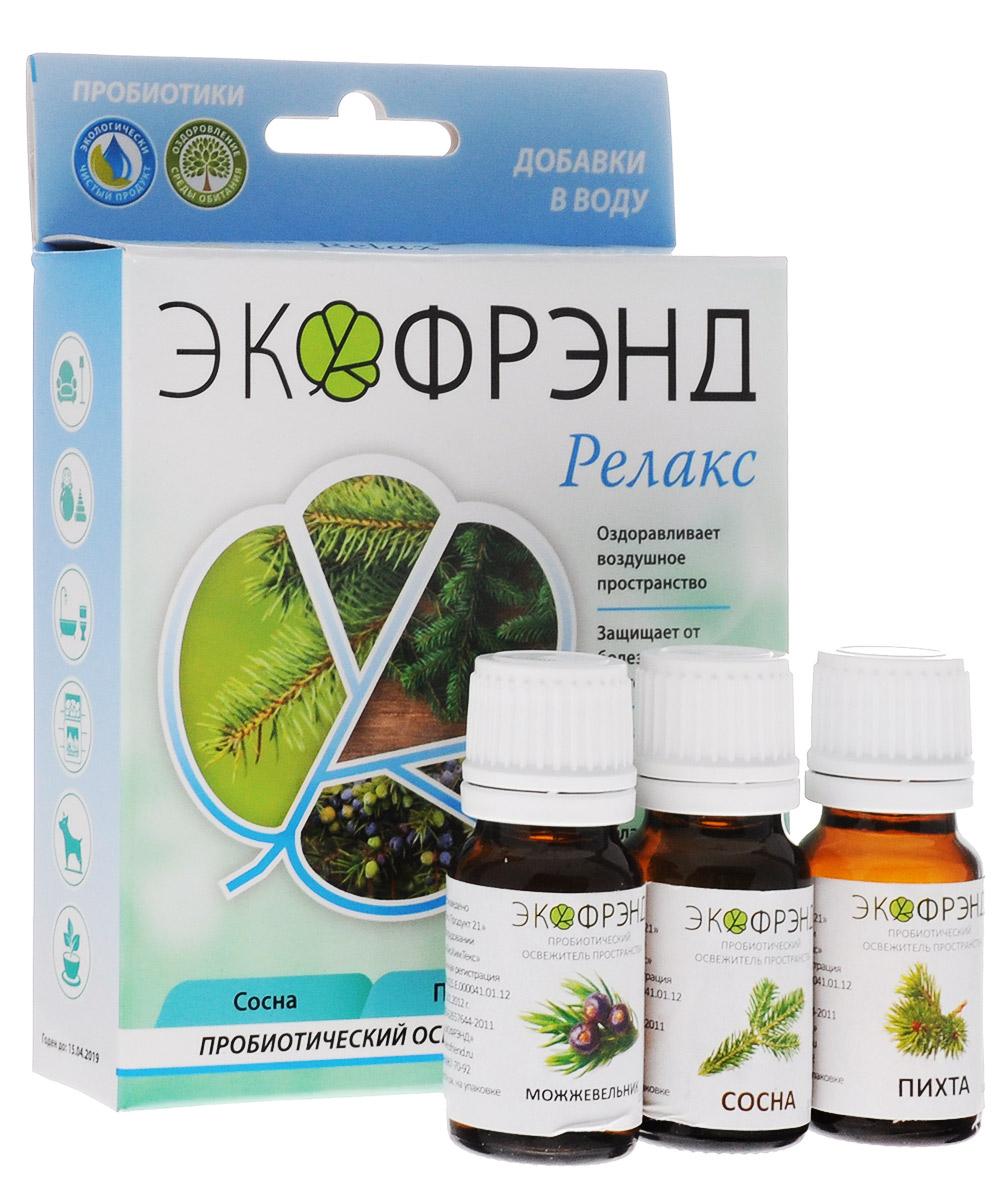Экофрэнд Релакс пробиотический освежитель пространства Сосна, Пихта, МожжевельникРЕЛАКСЭкологичное пробиотическое средство - концентрат, на основе эфирного масла сосны. При распылении в пространство помещенийустраняетпыль, гарь, смог и неприятные запахи. Очищает воздух и создает защиту на микробиологическом уровне. Нейтрализует негативное воздействие окружающей среды и электромагнитное излучение, оздоравливает воздушное пространство. Освежитель не разрушает озоновый слой, не раздражает кожу и дыхательные пути. Ароматерапия с использованием « Релакс»поднимает настроение и восстанавливает силы после тяжелого эмоционального труда, помогает при синуситах и любых проблемах с бронхами. Оказывает тонизирующее воздействие на легкие, почки, и нервную систему.В целом «Релакс»обладает восстанавливающим, оживляющим и укрепляющим эффектом спробиотическим последействием. Очищающее, глубоко проникающее воздействие сосны снимает усталость и помогает при нервном истощенииУстройства для применения: климатическая установка, моющий пылесос, парогенератор, распылитель, увлажнительОбласти применения: баня, автомобиль, детская, животные, гостинная, кухня, прихожая, ванная, цветы