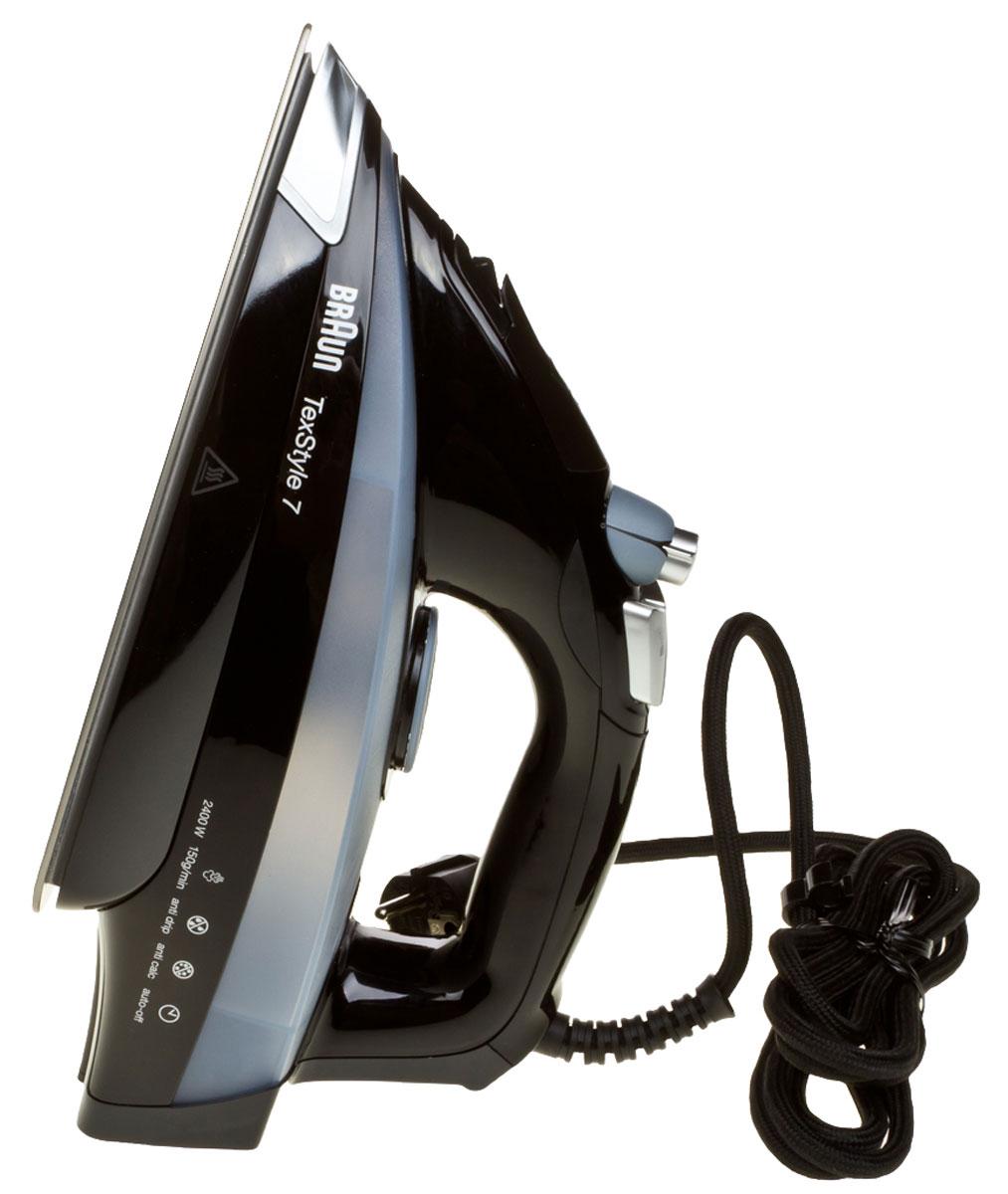 Braun TexStyle TS745A утюг0X12711022Паровой утюг Braun TexStyle TS745A обеспечивает непревзойденный результат глажения даже мелких деталей одежды. Глубоко проникающий пар разглаживает даже самые трудные участки. Высококачественная подошва в сочетании с последними технологиями и современным дизайном гарантирует максимально простое использование утюга и безупречный результат. Уникальная подошва Eloxal устойчива к царапинам, в 2 раза прочнее нержавеющей стали. Обеспечивает идеальное скольжение на всех видах тканей и гарантирует максимально простое использование утюга, а также безупречный результат. Обычно, разглаживание больше 60% складок происходит при помощи носика утюга, но обычные утюги имеют минимальное количество пара в этой области. Уникальная форма паровых отверстий утюгов Braun TexStyle TS745A позволяет выпускать пар ближе к носику – именно там, где он нужен, обеспечивая тем самым более качественный результат глажения в труднодоступных местах. Авто-отключение спустя...