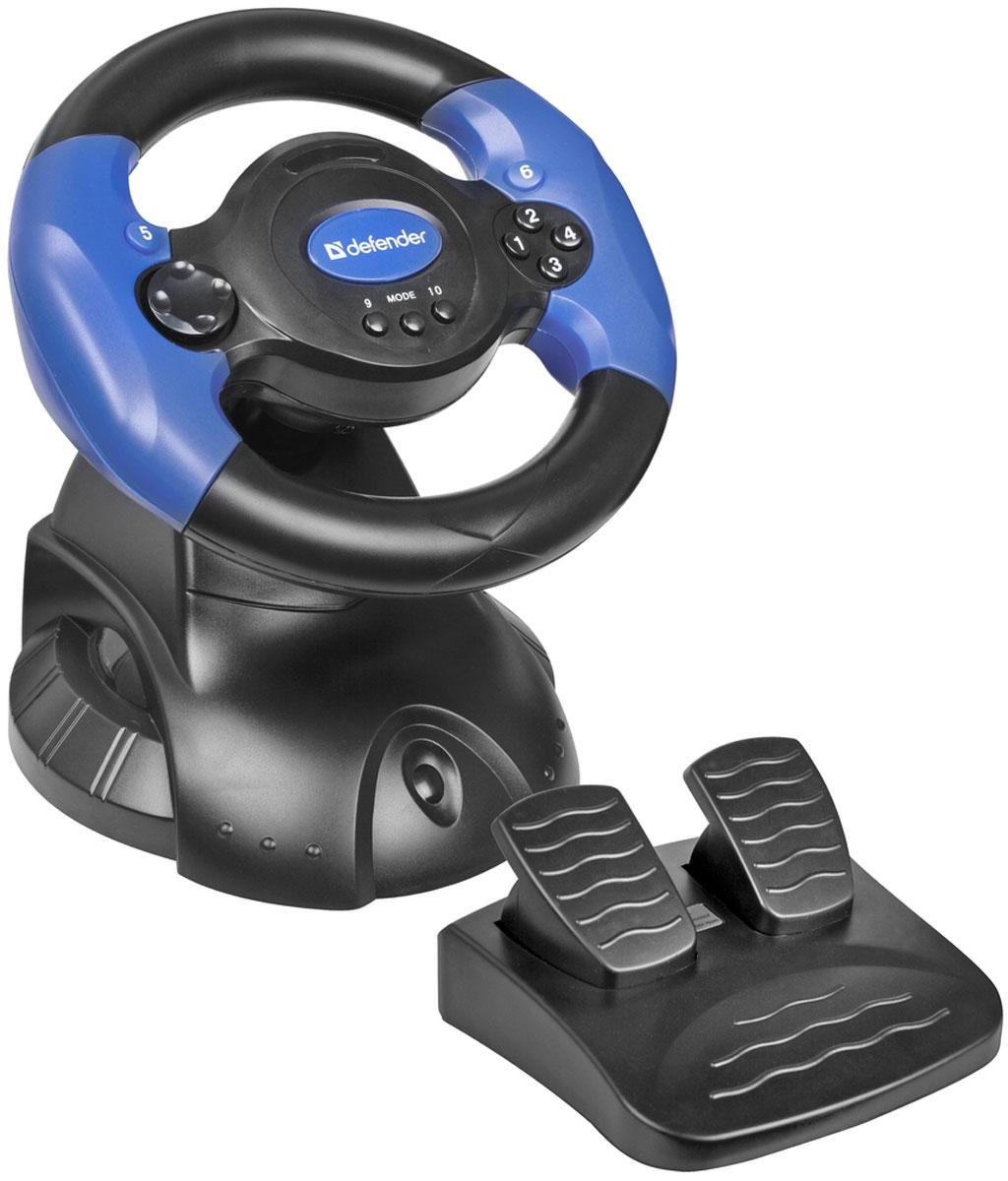 Defender Adrenaline Mini LE USB игровой руль64391Мини - руль Defender Adrenaline Mini LE USB отлично подойдет геймерам, увлекающимся играми на тему автогонок и является отличным вариантом для молодой семьи, где есть маленькие дети. Ведь не всегда крупный руль уместен в небольших комнатах, где порой его просто негде разместить! Данная модель имеет резиновую оплетку, предотвращающую выскальзывание руля из рук и подключается к ПК при помощи соединения USB. Надежное крепление к столу при помощи присосок Диаметр рулевого колеса: 200 мм Угол поворота рулевого колеса: 180 ° Тип датчика: резистивный