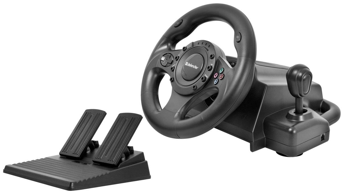 Defender Forsage Drift GT USB/PS2/PS3 игровой руль64370Игровой руль Defender Forsage Drift GT с возможностью ручной регулировки чувствительности отлично подойдет геймерам, увлекающимся играми на тему автогонок. Встроенный эффект вибрации делает аварии и столкновения более реалистичными! Руль надежно крепится к столешнице при помощи присосок. Данная модель также имеет резиновую оплетку, предотвращающую выскальзывание из рук и подключается к ПК при помощи соединения USB. Рычаг переключения передач Блок педалей — газ и тормоз Удобные несимметричные педали Угол поворота руля: 180° Диаметр рулевого колеса: 245 мм Тип датчика: резистивный 2 встроенных вибромотора