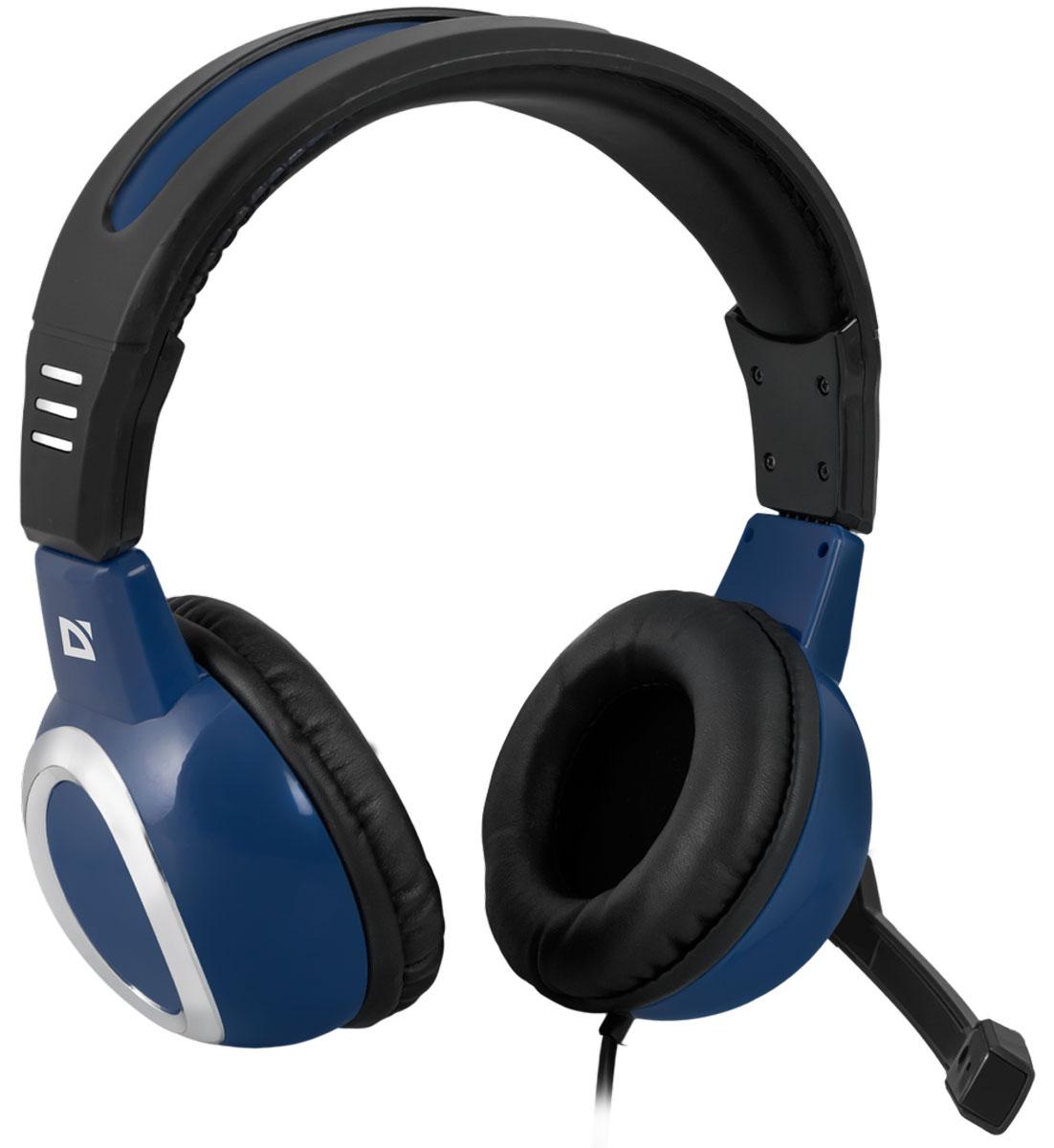 Defender Warhead G-280, Blue игровая гарнитура64125Игровая гарнитура Defender Warhead G-280 предназначена для компьютеров нового поколения, использующих комбинированный четырехпиновый разъем для наушников и микрофона. Наушники закрытого типа с большими 40 мм динамиками гарантируют мощный чистый звук. На кабеле гарнитуры удобно расположен регулятор громкости. Благодаря надежной звукоизоляции и комфортным амбюшурам вы сможете играть или слушать музыку с комфортом - ничто не будет вам мешать! Частотный диапазон микрофона: 20 Гц - 16 кГц Сопротивление микрофона: 2,2 кОма Чувствительность микрофона: 54 дБ