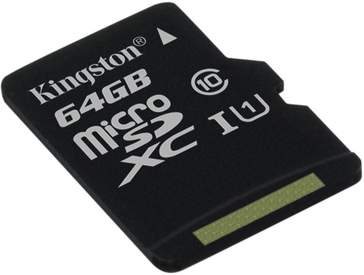 Kingston microSDXC Class 10 UHS-I 64GB карта памяти (45/10 Мб/с)SDC10G2/64GBSPКарта памяти Kingston microSDXC Class 10 UHS-I поможет вам в увеличении объема памяти мобильных телефонов, смартфонов, планшетов и других портативных устройств. Данная модель имеет все основные защитные функции от Kingston: водонепроницаемый корпус, ударостойкость и виброустойчивость, защиту от рентгеновских аппаратов в аэропортах и экстремальных температур.