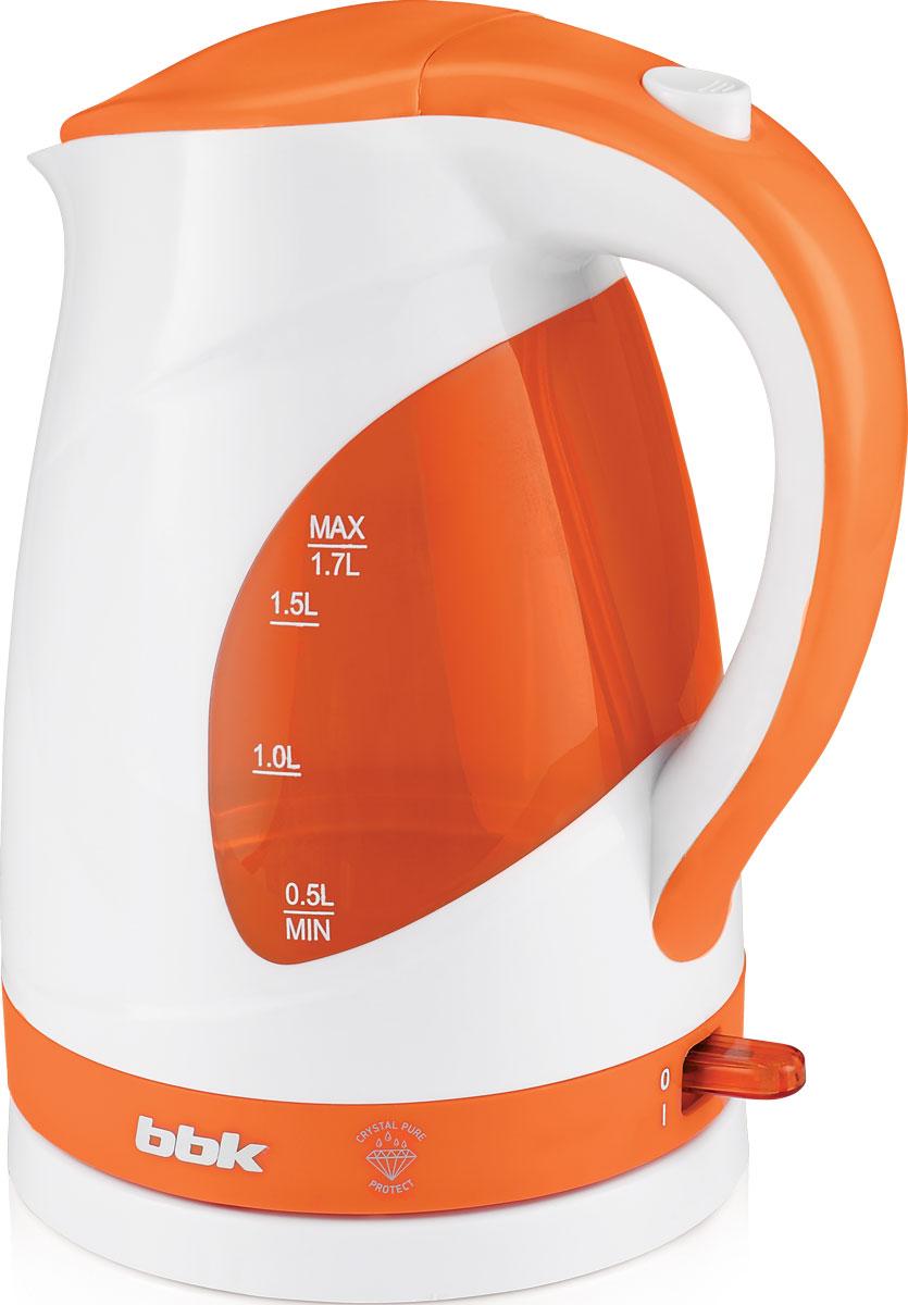 BBK EK1700P, White Orange электрический чайникEK1700P бел/орСовременный электрический чайник BBK EK1700P из термостойкого экологически чистого пластика, сочетающий в себе многофункциональность и дизайн, станет украшением вашей кухни. Чайник оснащен технологией Crystal Pure Protect - это улучшенная защита от накипи и усовершенствованная очистка воды, а также многоуровневой защитой. Прибор установлен на удобную подставку с возможностью поворота на 360 градусов и с отделением для хранения шнура. Помимо этого отличительной особенностью является удобный носик для наливания и шкала уровня воды. Съемный фильтр от накипи и скрытый нагревательный элемент гарантированно обеспечат надежность, долговечность и максимально комфортное ежедневное использование.