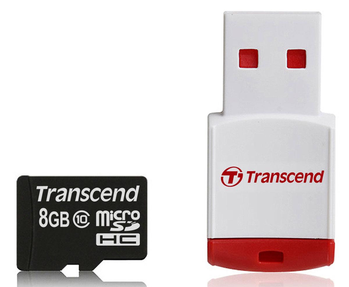 Transcend microSDHC Class 10 8GB карта памяти + P3 картридерTS8GUSDHC10-P3Карта памяти Transcend microSDHC Class 10 была создана для того, чтобы повысить эффективность работы с вашим смартфоном или планшетом, и соответствуют всем требованиям стандарта Ultra High Speed Class 1. Построенная на основе самых современных технологий, эта карта обеспечивает максимальный уровень производительности в требовательных к работе подсистемы памяти играх и приложениях, а также позволяет без задержек воспроизводить Full HD-видео с полной кадровой частотой. Включает компактный портативный USB-картридер Ультравысокоскоростная и компактная Полная совместимость с Hi-Speed USB 2.0 (Картридер P3 ) Встроенная технология ECC для обнаружения и исправления ошибок при передаче данных Эксклюзивная программа RecoveRx для восстановления удаленных и утраченных данных с портативных носителей