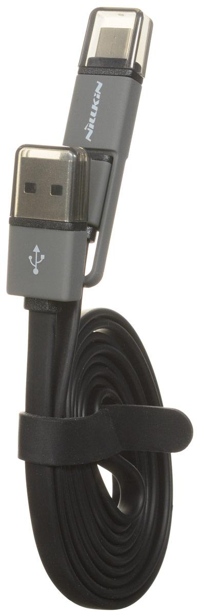Nillkin Type-C+, Black дата-кабель874004Y0415Кабель Nillkin Type-C+ с двумя коннекторами (USB Type C и microUSB) предназначен для передачи данных между вашим мобильным устройством и ПК, а также зарядки смартфона.
