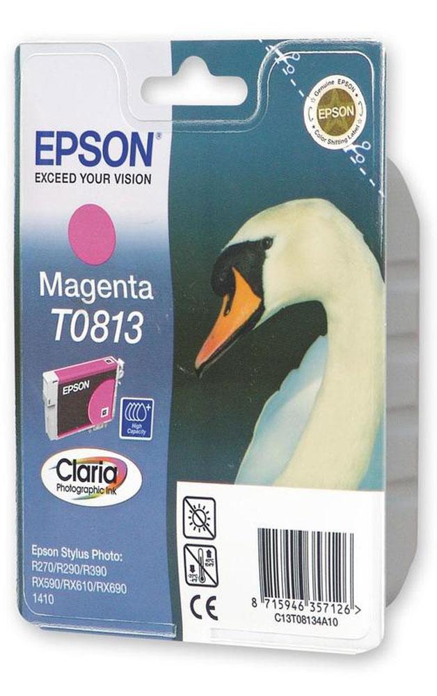 Epson T0813 (C13T11134A10), Magenta картридж для R270/TX650/T50C13T11134A10Картридж Epson T0813 C13T11134A10 емкостью 11,1 мл для Epson Stylus Photo R270 / R290 / R390 / RX590 / RX610 / RX690.
