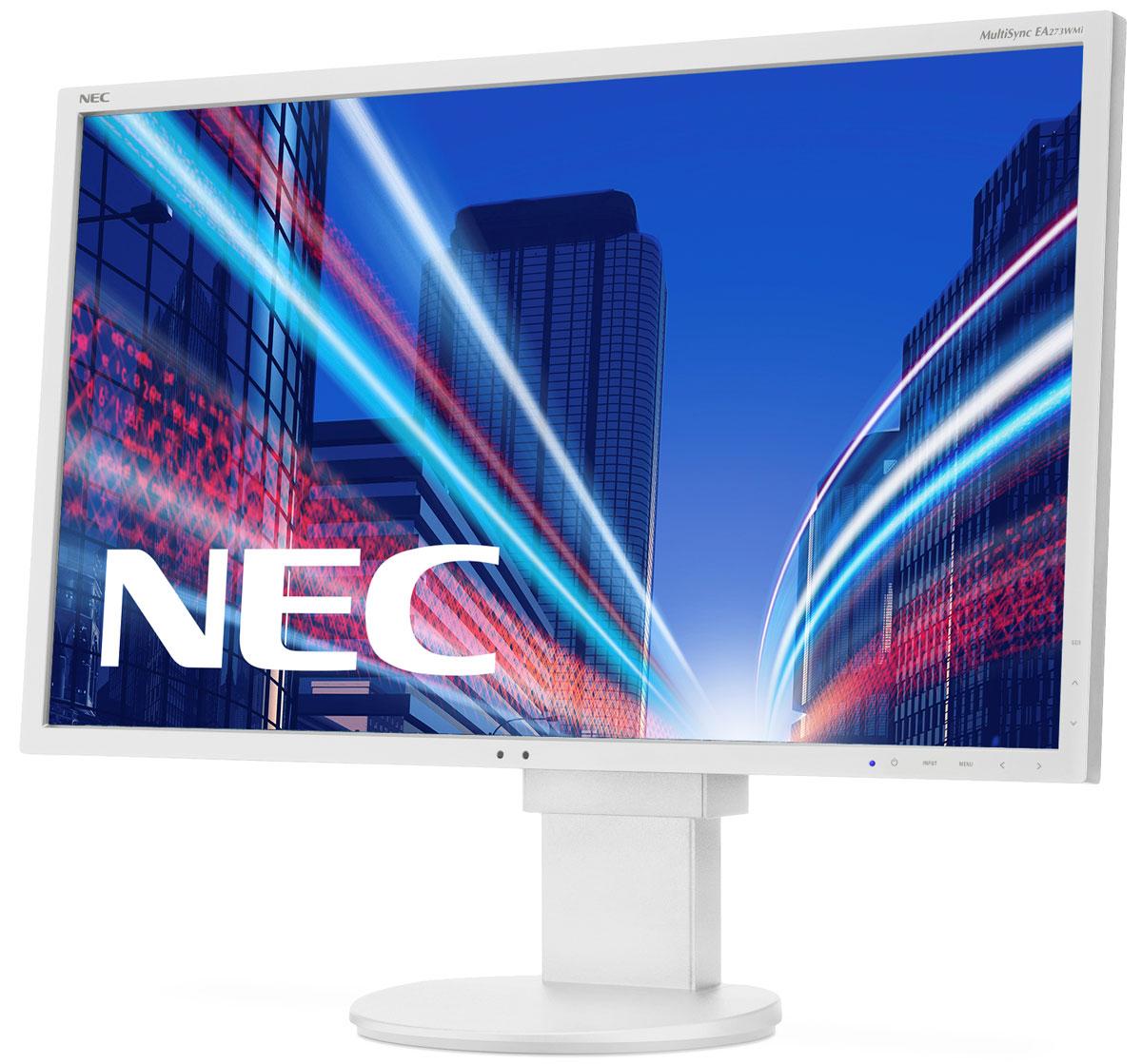 NEC EA273WMi, White мониторEA273WMiМонитор NEC EA273WMi обладает очень тонкой 27-дюймовой панелью с разрешением 1920 x 1080, а также светодиодной подсветкой и IPS-технологией, что обеспечивает ультрасовременный и ультратонкий дизайн.Датчик внешней освещенности и датчик присутствия являются стандартными характеристиками данной модели, кроме того, она обладает улучшенными эргономическими характеристиками, например, механизмом регулирования высоты до 130 мм.Эргономическое исполнение данного дисплея улучшено с помощью довольно большого шага расположения точек для обеспечения простого чтения текста, что дополняет отличное качество изображения благодаря IPS-технологии. Кроме того, дисплей также располагает перспективными возможностями соединения через различные интерфейсы.Датчик рассеянного света - благодаря функции автоматической яркости Auto Brightness всегда можно оптимизировать уровень яркости в зависимости от освещения и условий изображения. Датчик присутствия - определяет присутствие человека перед экраном и автоматически включает или выключает экран для экономии электроэнергии. Встроенные динамики, гнездо для подключения наушников и USB-порты обеспечивают отличные опции для офисной коммуникации.