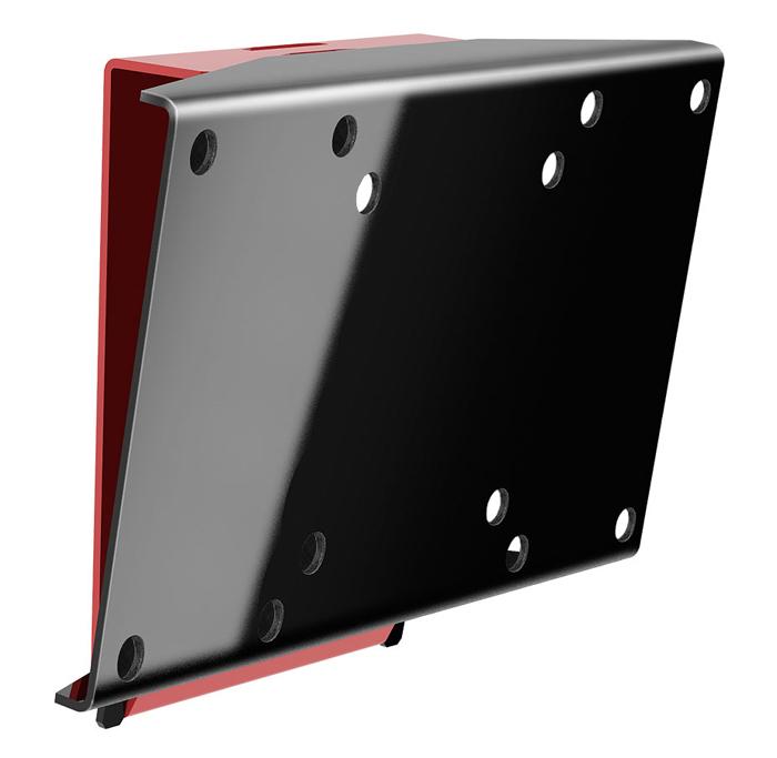 """Holder LCDS-5061, Black Gloss кронштейн для ТВLCDS-5061, черный глянецАнтибликовый кронштейн для телевизора Holder LCDS-5061 обладает функцией наклона вверх на 5 градусов или вниз на 10 градусов, которая обеспечивает комфортный просмотр без бликов. Наклон избавляет от отблесков солнца и ламп. Цвет конструкции – черный, пристенный крепежный элемент изготовлен в красном цвете. Телевизор находится на фиксированном расстоянии от стены – 37 мм. Максимальная диагональ экрана телевизора – 32"""", минимальная – 19"""". Кронштейн выдерживает вес не более 30 кг. Механизм можно без труда установить и выровнять самостоятельно, т. к. в комплект входят все необходимые крепежи и инструкция по монтажу."""