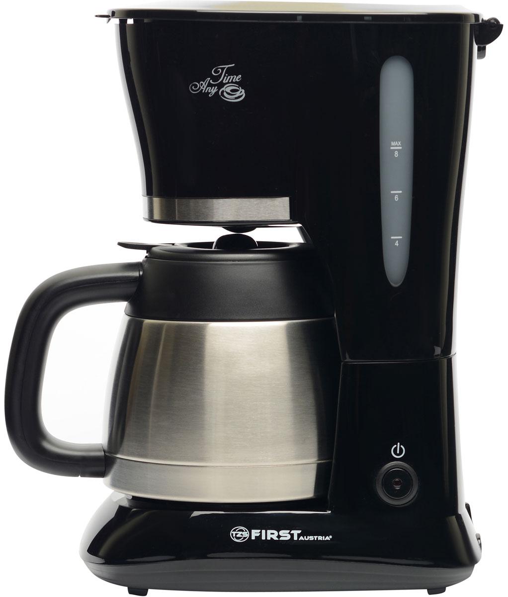 First FA 5459-3 Special Edition, Black кофеваркаFA 5459-3 BlackFirst FA 5459-3 - надежная и недорогая капельная кофеварка с функцией поддержания температуры. Колба-термос имеет двойные стенки из нержавеющей стали. В данной модель используется съемный нейлоновый фильтр. Антикапельная система обеспечит дополнительное удобство в использовании. Емкость кофеварки рассчитана на 10 чашек (около 1 л).