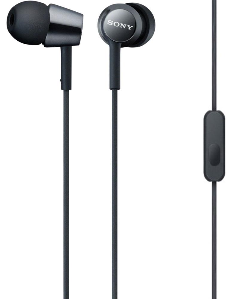 Sony MDR-EX150AP, Black наушники95489310Наушники-вкладыши Sony MDR-EX150AP созданы для тех, кто вечно находится в движении. Удобный в использовании встроенный в кабель микрофон позволяет запросто отвечать на звонки, не вынимая смартфон из кармана или сумки. Завершив разговор можно легко вернуться к прослушиванию музыки благодаря встроенному в кабель пульту управления.
