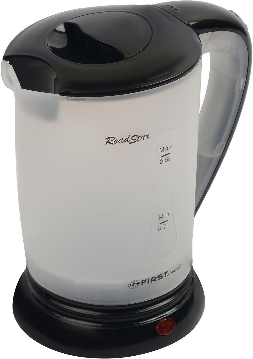 First FA-5425-2-BA электрический чайникFA-5425-2-BAДорожный электрический чайник First FA-5425-2-BA имеет объем 0,5 литра. Несмотря на свои компактные размеры, данная модель располагает всеми необходимыми функциями полноразмерных чайников. Скрытый нагревательный элемент позволит за короткое время вскипятить заданный объем воды, а функция автовыключения и защита от перегрева обеспечат безопасное использование в течение всего срока эксплуатации.