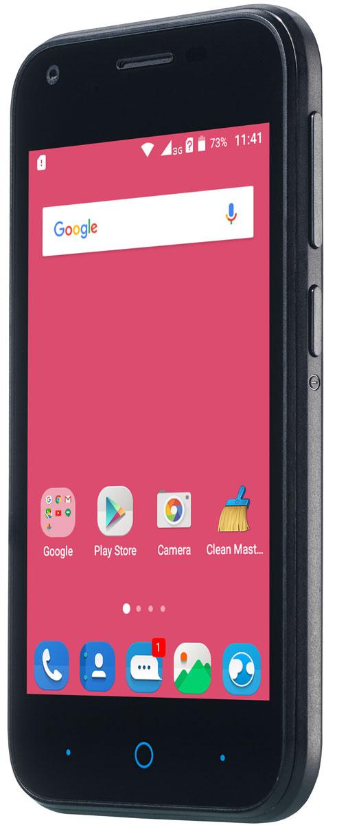ZTE Blade L110, BlackZTE BLADE L110 BLACKКомпактный корпус смартфона ZTE Blade L110 изготовлен из качественного текстурированного поликарбоната, который максимально неприхотлив в повседневном использовании и будет удобно лежать в руке. Управление смартфона ZTE Blade L110 осуществляется на базе операционной системы Android 5.1, которая комфортна и интуитивно доступна любому современному пользователю, а также обеспечивает стабильную работу любых доступных приложений. Четрырехъядерный процессор и до 1 ГБ оперативной памяти обеспечивают скорость в обработке повседневных задач и плавную работу приложений. Смартфон ZTE Blade L110 обладает слотом для установки двух SIM-карт – разделяйте личные и рабочие звонки, выбирайте удобные тарифы в поездках и пользуйтесь интернетом независимо от вашего места нахождения. Смартфон сертифицирован EAC и имеет русифицированный интерфейс меню и Руководство пользователя.