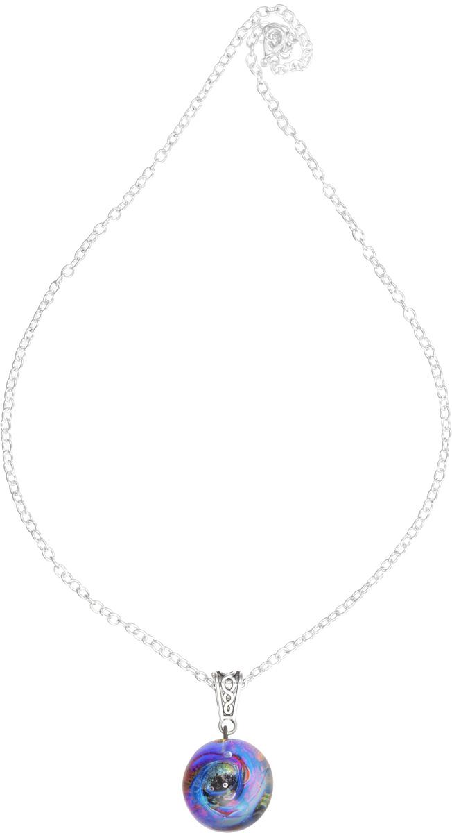 Кулон Lampwork Галактика. Черная дыра. Ручная авторская работаPD503Кулон шар из прозрачного стекла с маленькой площадкой сзади. Внутри цветное объемное изображение. шар 2,5 см