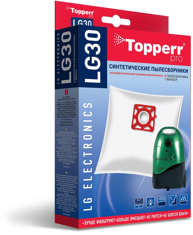 Topperr LG30 фильтр для пылесосов LG Electronics, 4 шт1408Синтетические пылесборники Topperr LG30 подходят для пылесосов LG ELECTRONICS произведены из нетканого фильтрующего материала. Данный материал не боится повышенной влажности и обладает большой прочностью, главное качество – способность задерживать 99,5% пыли. Регулярное использование синтетических мешков-пылесборников гарантирует не только очищение воздуха от пыли и аллергенных микроорганизмов, но и чистоту внутренних поверхностей пылесоса.