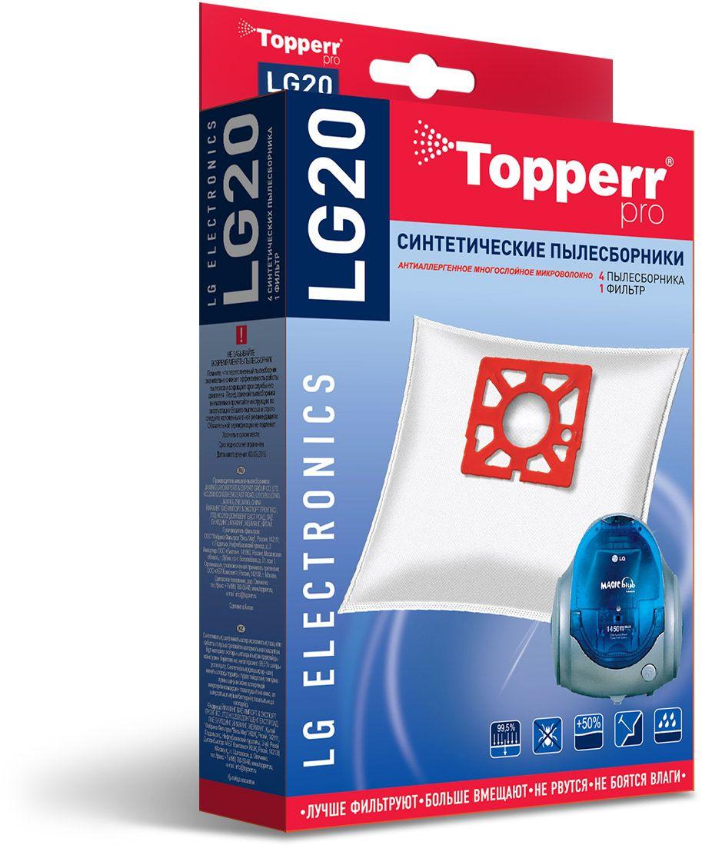 Topperr LG20 фильтр для пылесосовLG Electronics, 4 шт1409Синтетические пылесборники Topperr LG20 подходят для пылесосов LG Elecronics произведены из нетканого фильтрующего материала. Данный материал не боится повышенной влажности и обладает большой прочностью, главное качество – способность задерживать 99,5% пыли. Регулярное использование синтетических мешков-пылесборников гарантирует не только очищение воздуха от пыли и аллергенных микроорганизмов, но и чистоту внутренних поверхностей пылесоса.