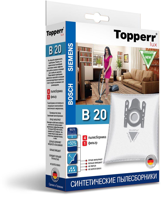 Topperr B 20 фильтр для пылесосов Bosch, Siemens, 4 шт1414Немецкие синтетические пылесборники Topperr B 20 подходят для пылесосов BOSCH и SIEMENS, произведены из экологически чистого, многослойного нетканого фильтрующего материала MicrofiltPlus. Данный материал не боится повышенной влажности и обладает большой прочностью, главное качество — способность задерживать 99,5% пыли; сохраняет мощность всасывания пылесоса до полного заполнения пылесборника, также продлевает срок службы пылесоса. Регулярное использование синтетических мешков-пылесборников гарантирует не только очищение воздуха от пыли и аллергенных микроорганизмов, но и чистоту внутренних поверхностей пылесоса.
